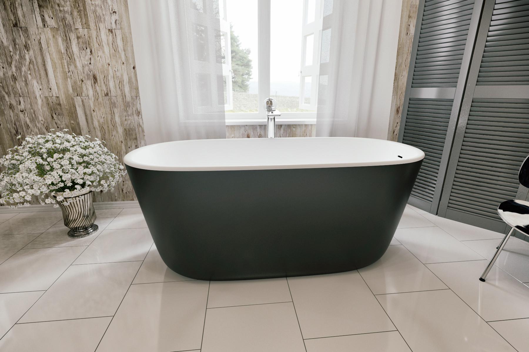 Aquatica PS602M-Mini-Blck-Wht Lullaby Free Standing Solid Surface Bathtub in Black