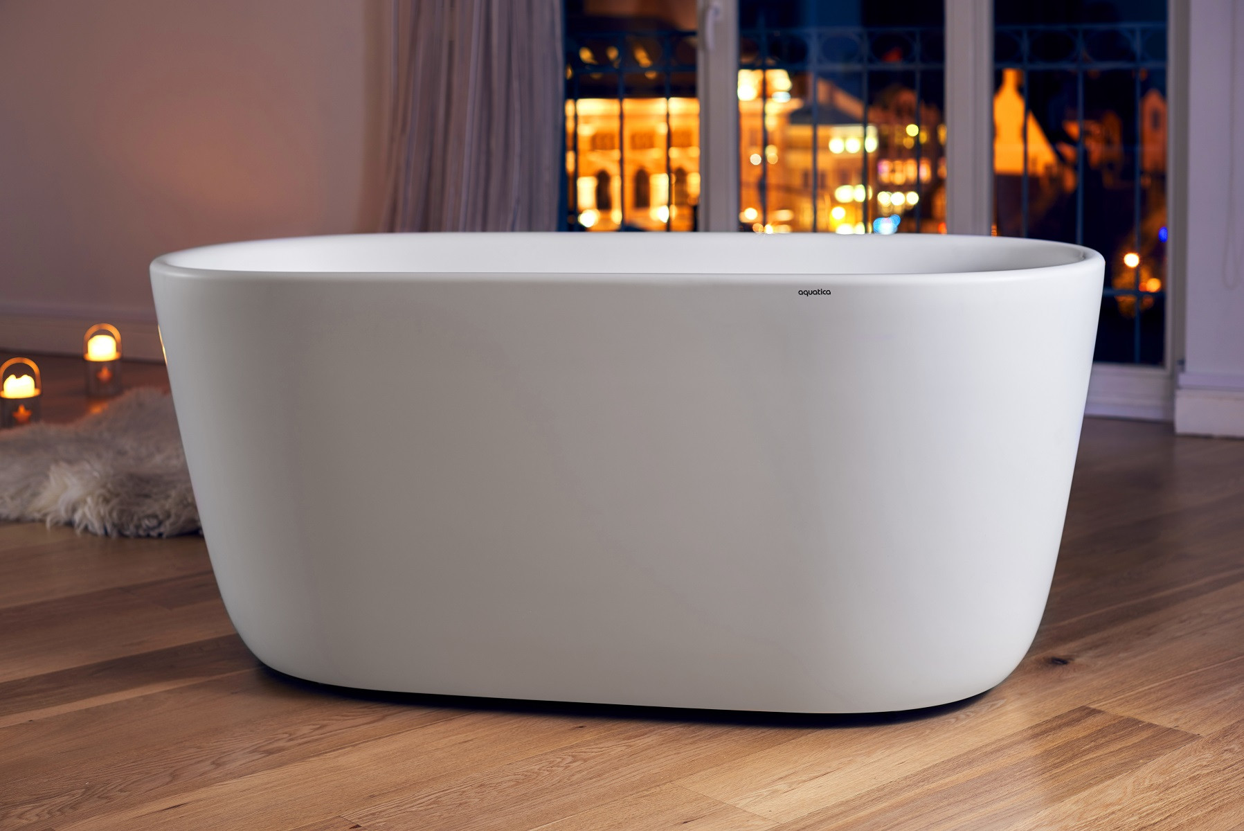 Aquatica PS602M-Mini-Wht Lullaby Freestanding Solid Surface Bathtub in White