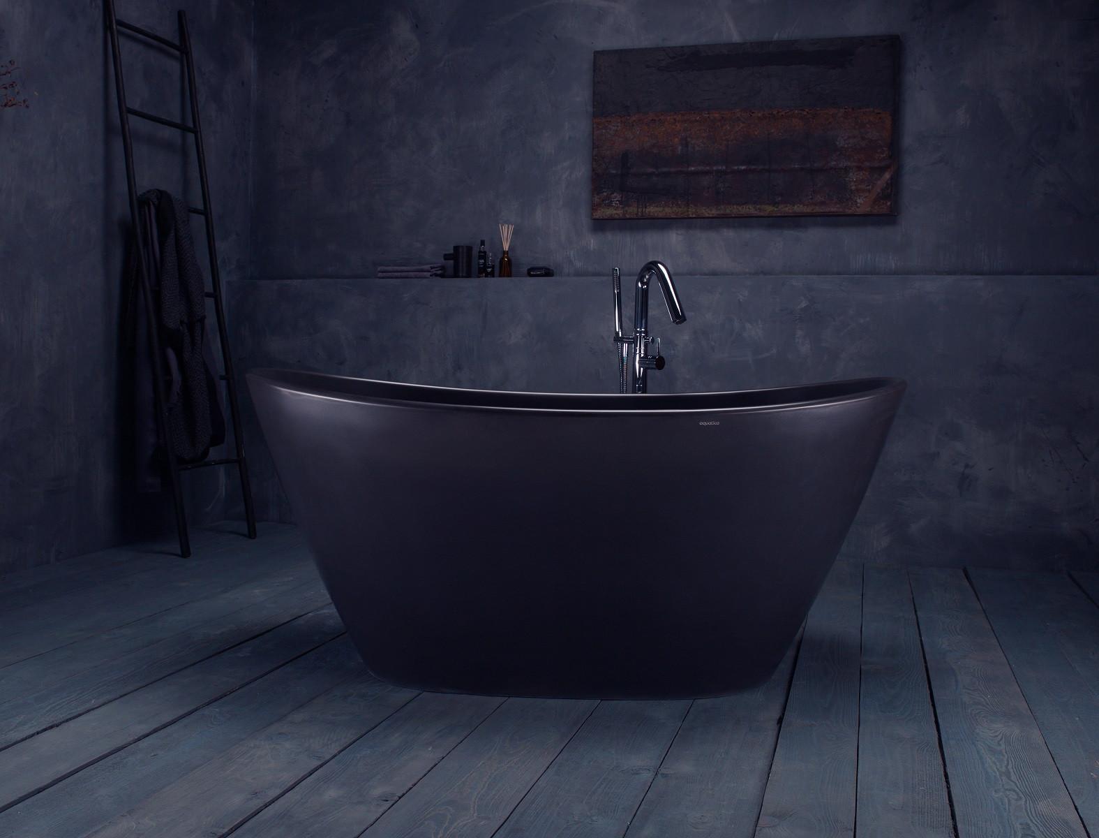 Aquatica PS748M-Blck PureScape Freestanding Graphite Black Stone Bathtub