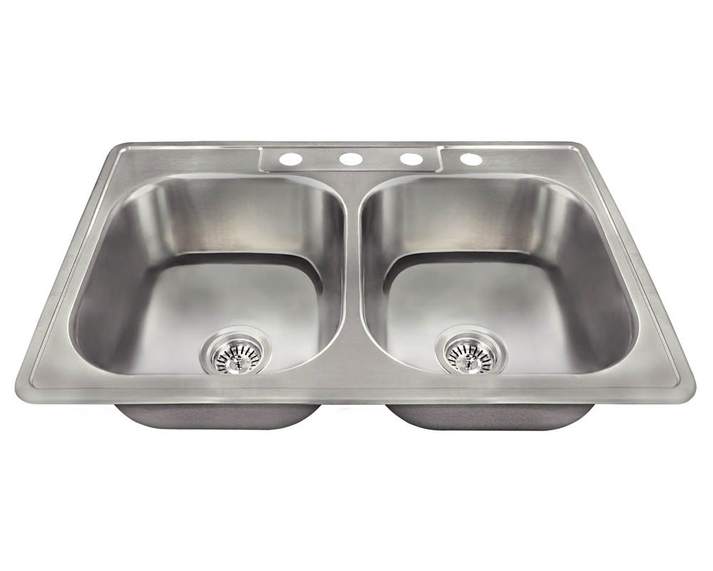 Polaris Sinks PT2201US-ENS 20 Gauge Kitchen Sink and 2 Standard Strainers