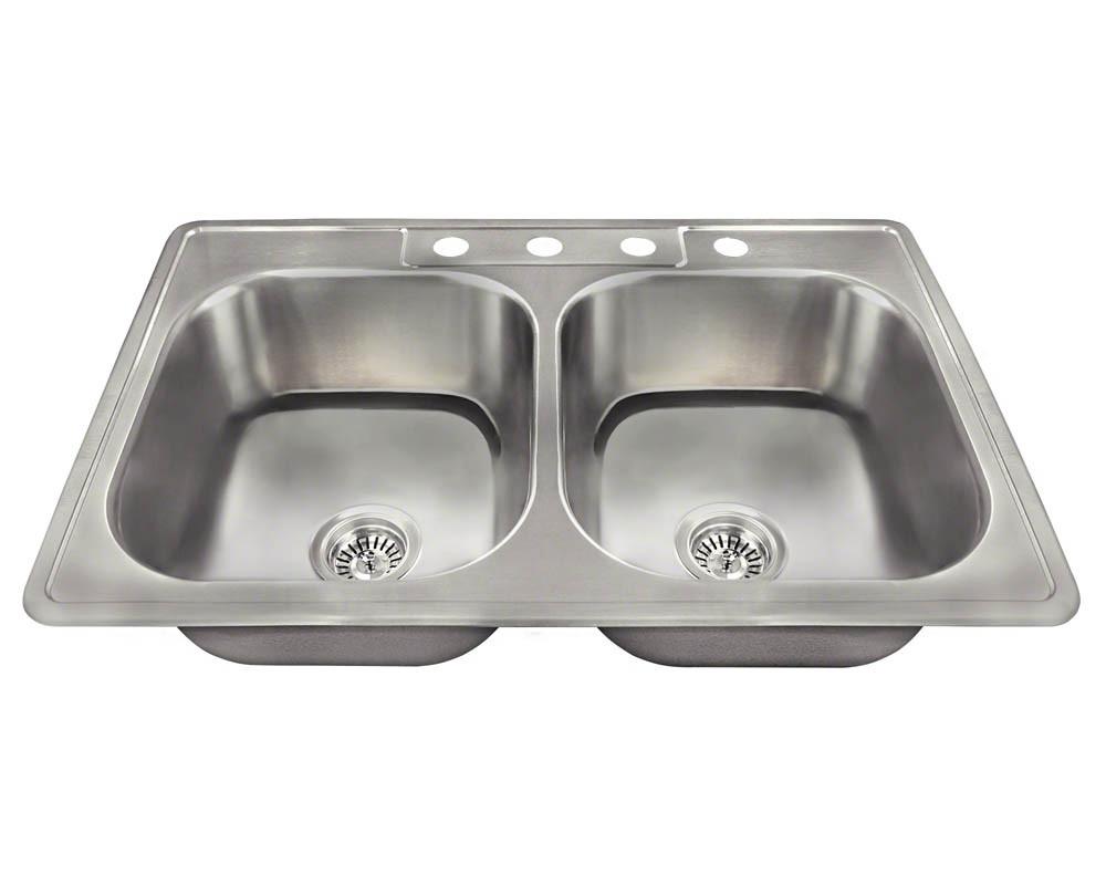 Polaris Sinks PT2201US Drop In Double Bowl 20-Gauge Stainless Steel Sink