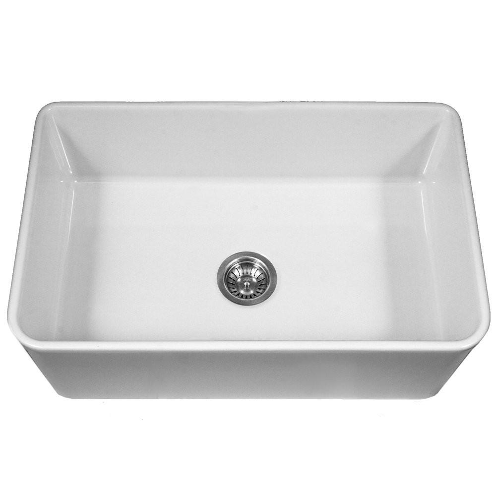HouzerPTG-4300 WH Platus Apron Front Fireclay Single Bowl Kitchen Sink In White