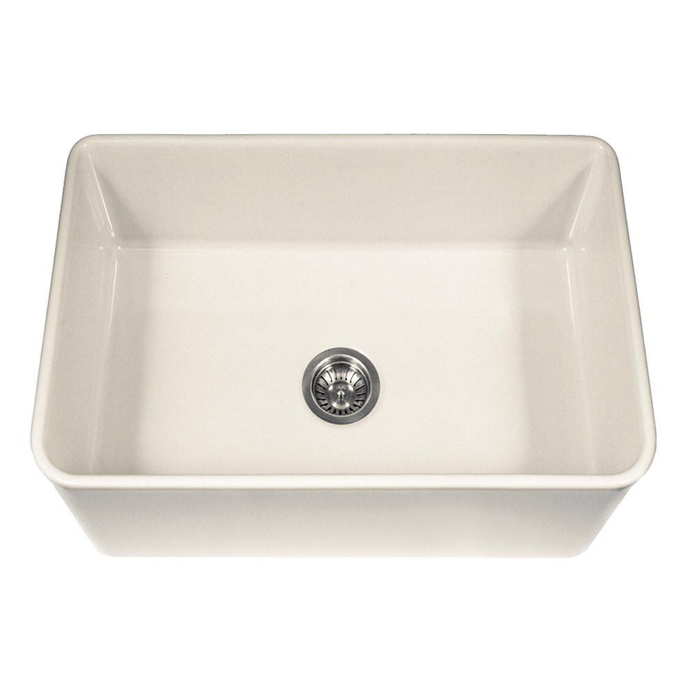 Houzer PTS-4100 BQ Platus Series Farmhouse Fireclay Single Bowl Kitchen Sink In Biscuit