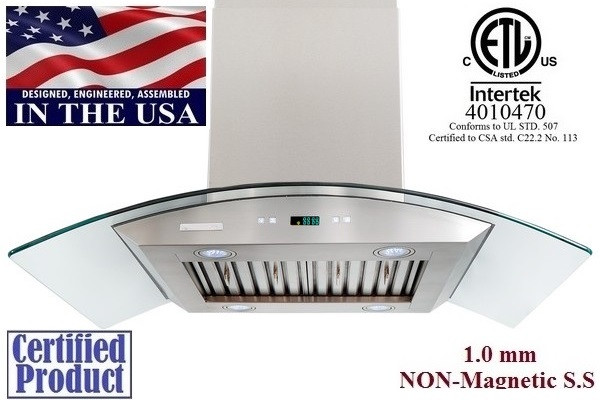 XtremeAir PX01-I30 30 Inch Island Mount Range Hood With LED Lights and Baffle Filters