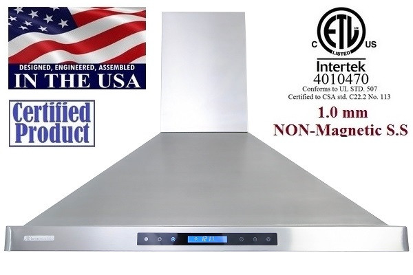 XtremeAir PX15-W42 42 Inch Seamless Body Wall Mount Range Hood