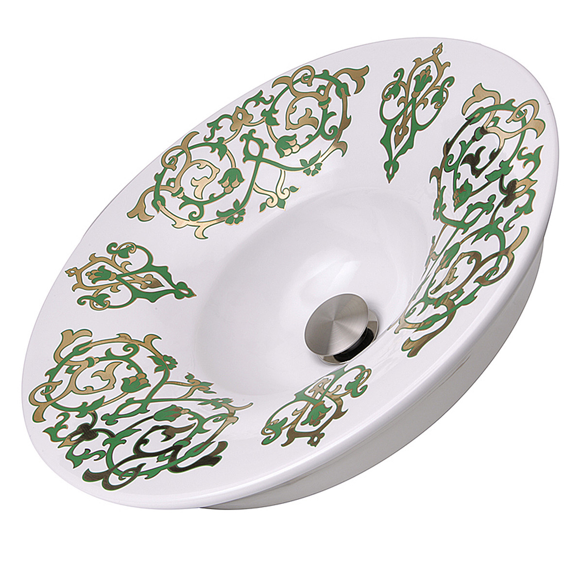 Nantucket Sinks RC77240GF Lugano Fireclay Hand-decorated Vanity Sink