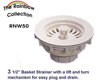 Whitehaus RNW50 3 1/2'' Kitchen Fireclay Sink Plastic Basket Strainer