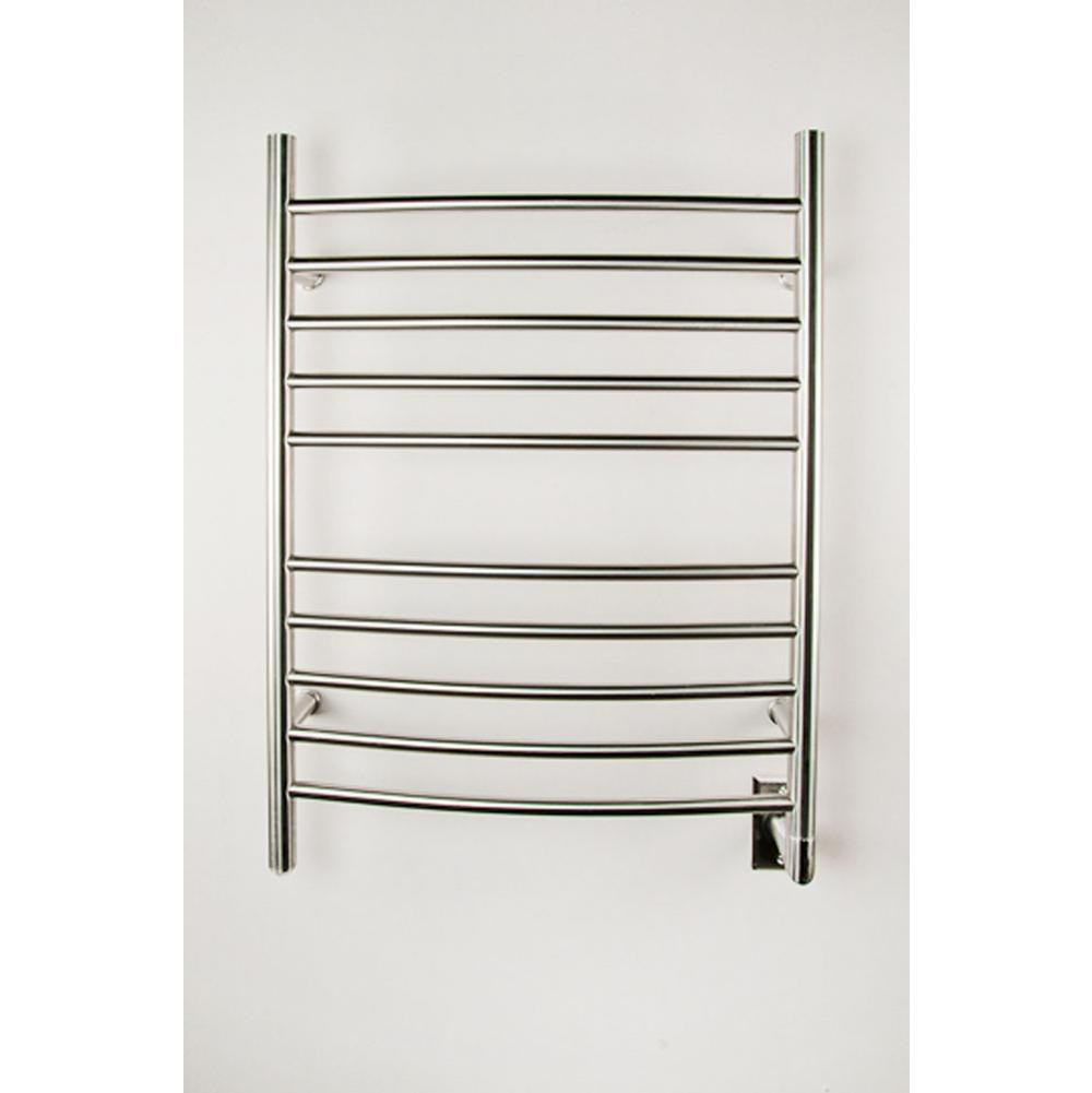 Amba RWH-CB Radiant Wall Mounted Curved Hardwired Bathroom Towel Warmer In Brushed Stainless Steel