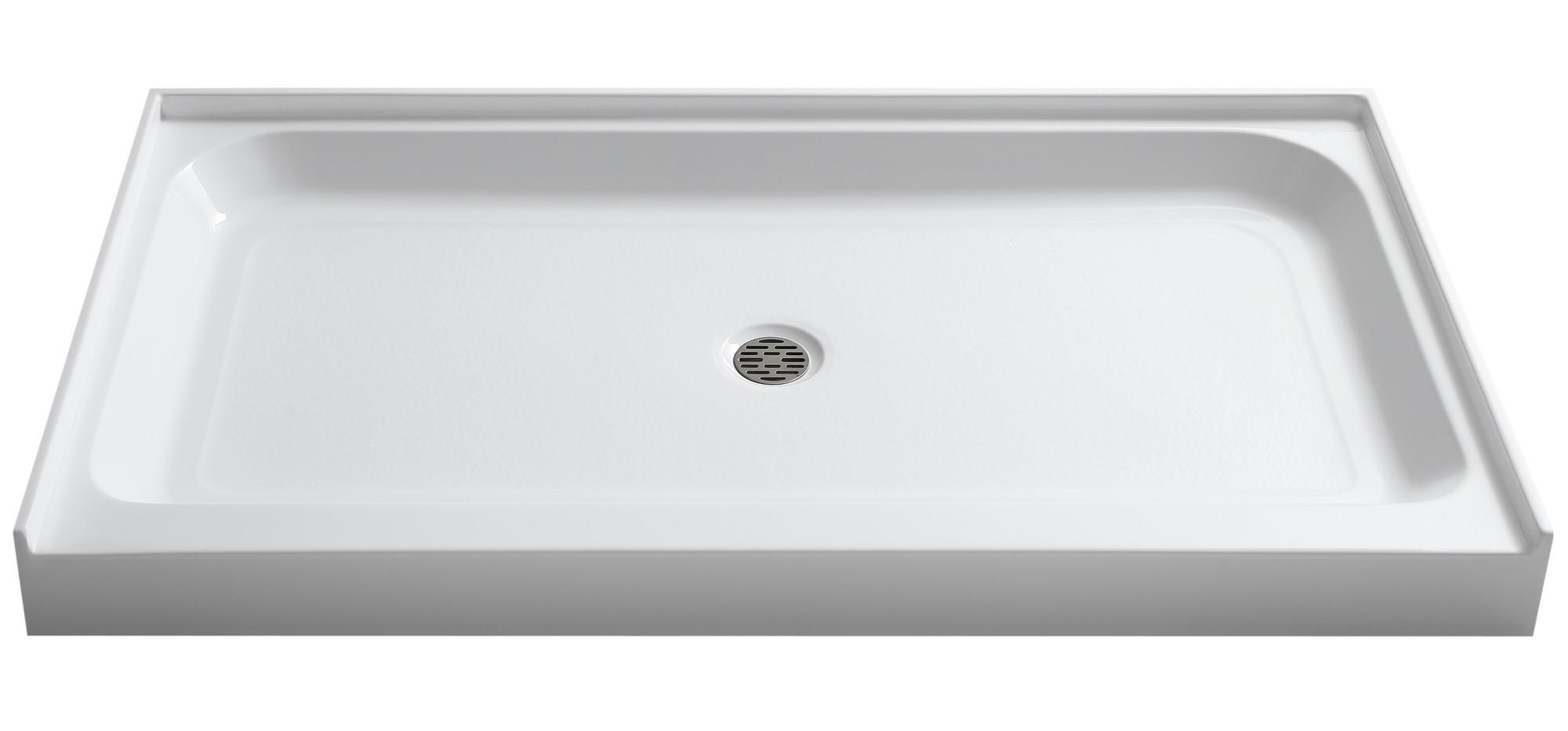 "Anzzi SB-AZ03CD Tier 32x60"" Center Drain White Single Threshold Shower Base"