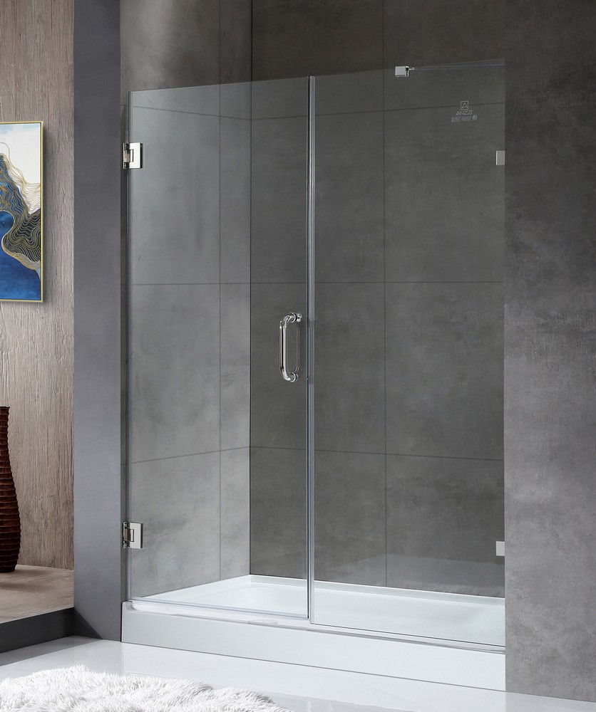 ANZZI SD-AZ07-01CH Consort Frameless Hinged Shower Door In Polished Chrome
