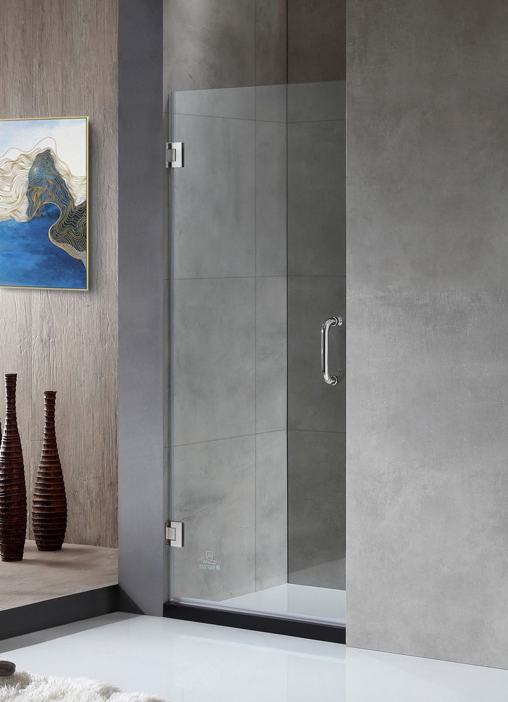 ANZZI SD-AZ09-02CH Hinged Shower Door In Polished Chrome With Clear Glass