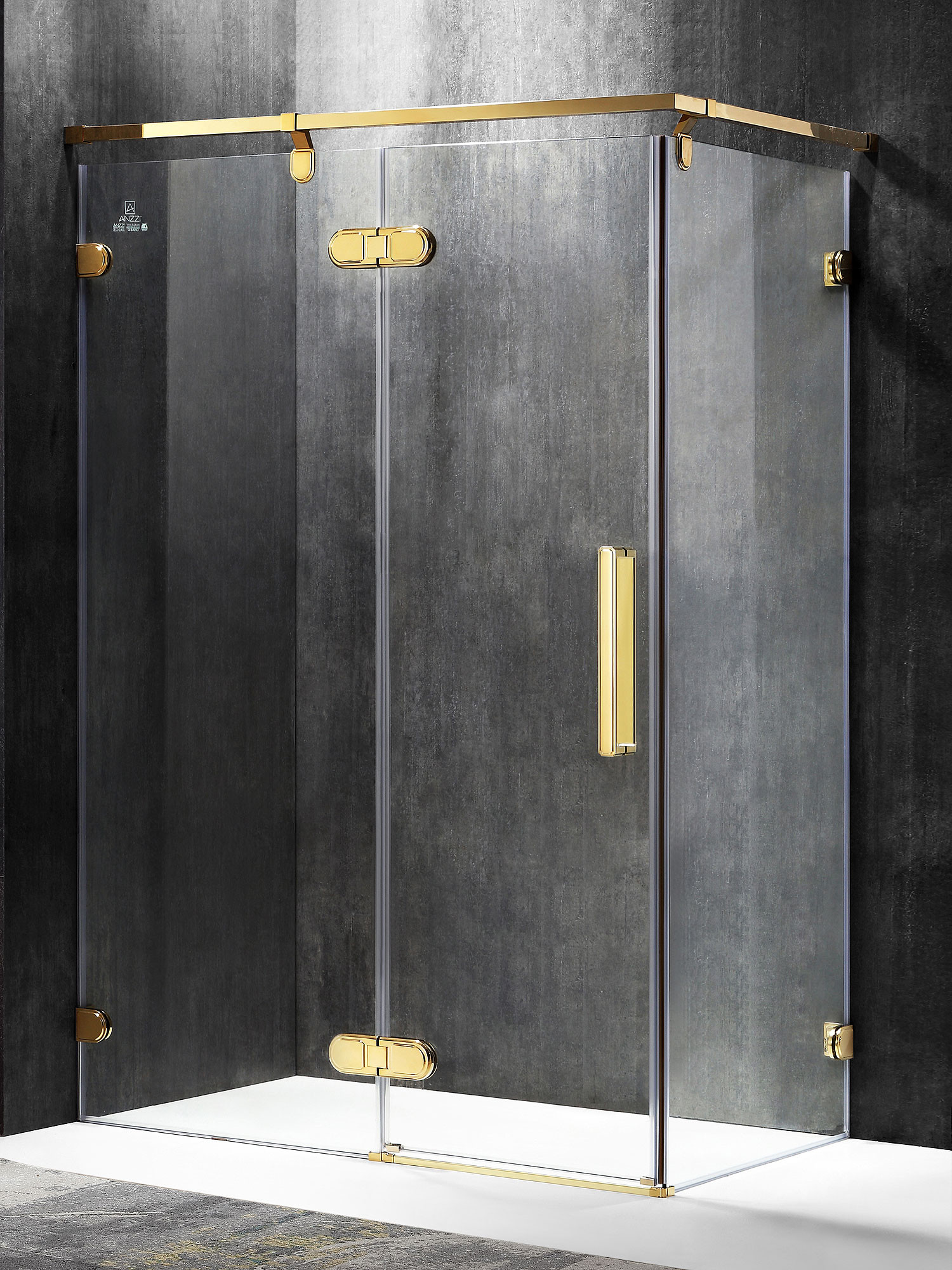 ANZZI SD-AZ21GD-L Sultan Series Left Side Bathroom Shower Enclosure In Gold