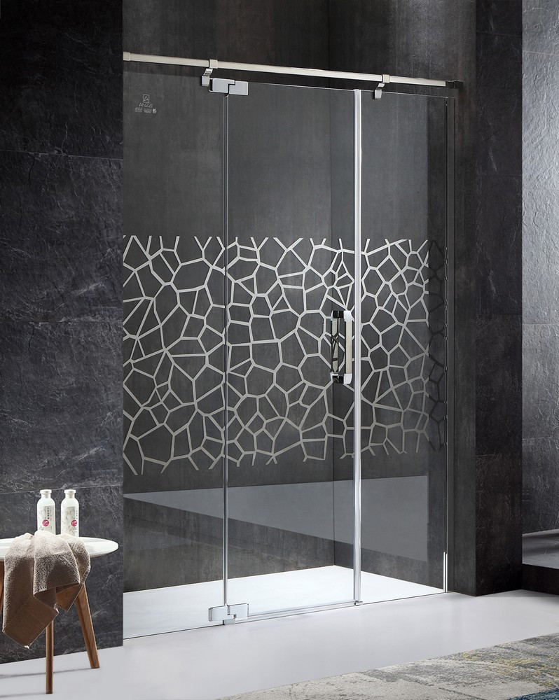 ANZZI SD-AZ30CH-L Polished Chrome Grove Left Side Hinged Shower Door