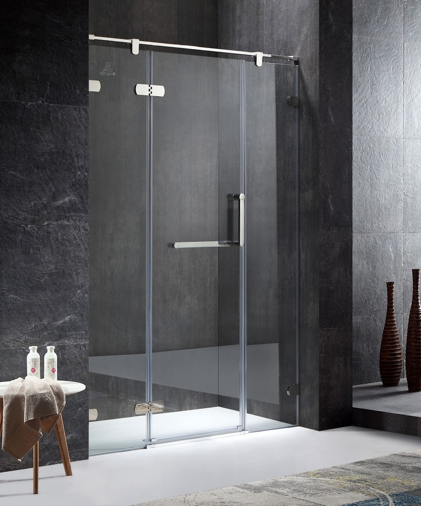 ANZZI SD-AZ35CH-L Emperor Left Side Hinged Shower Door In Polished Chrome