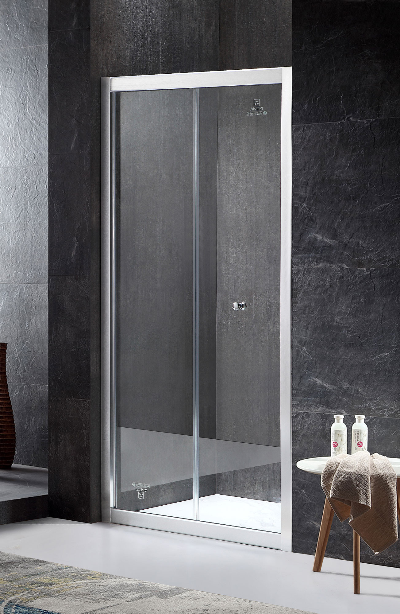 ANZZI SD-AZ40BN Brushed Nickel Rampart Series Hinged Bi-Fold Shower Door