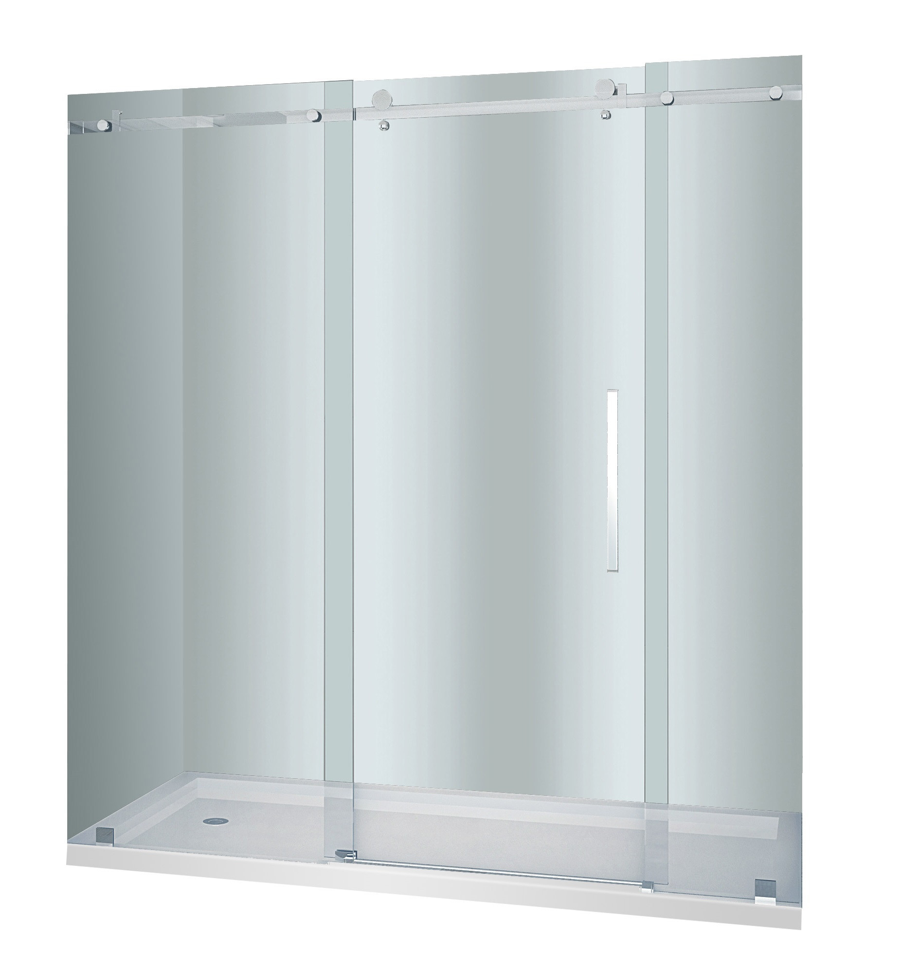 Aston Global SDR976-TR-CH-72-10-L Sliding Shower Door In Chrome With Base and Left Drain