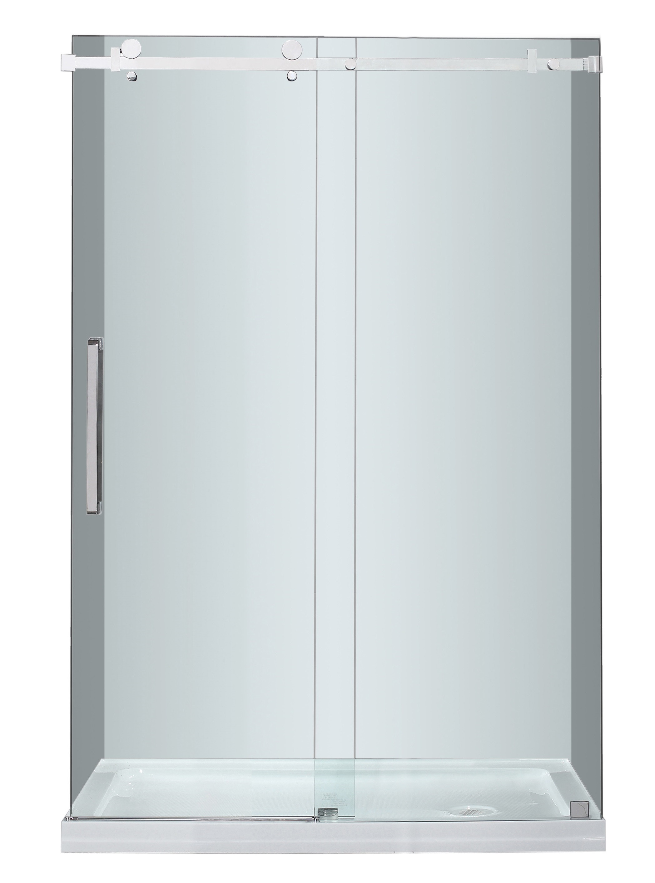 Aston Global SDR976-TR-SS-48-10-R Sliding Shower Door With Right Shower Base In Stainless Steel