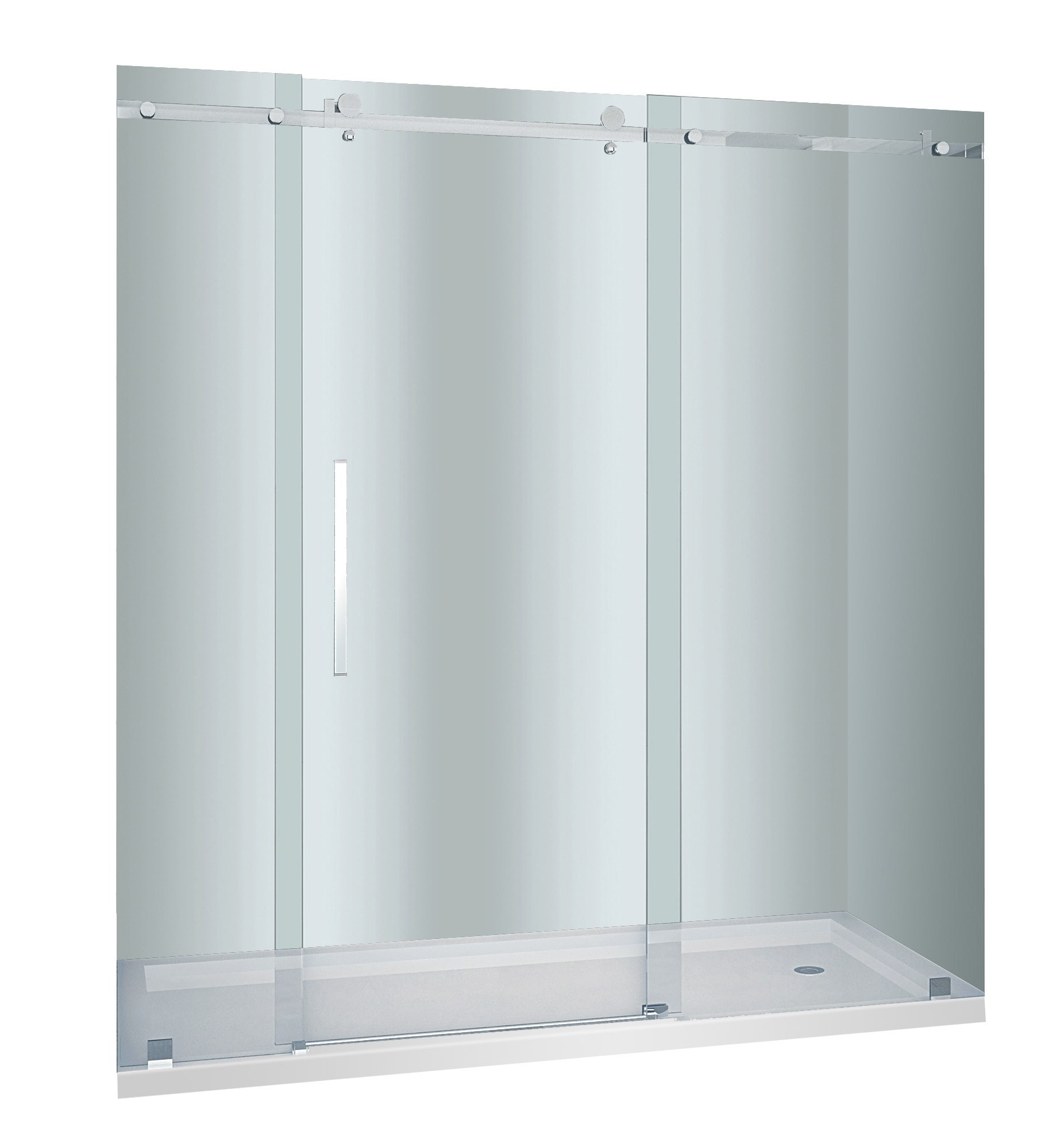 Aston Global SDR976-TR-SS-72-10-R Sliding Shower Door In Stainless Steel With Right Shower Base