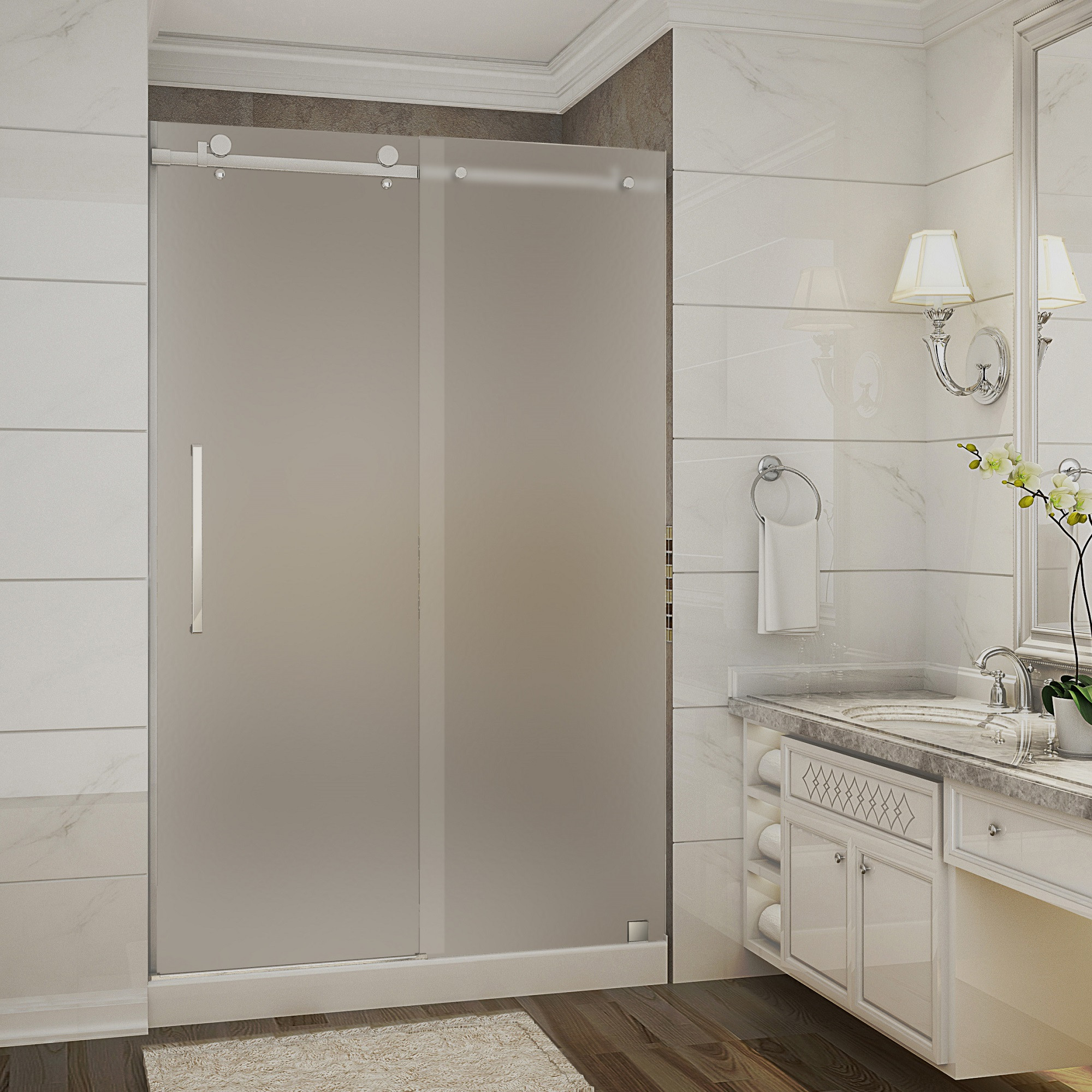 Aston Global SDR976F-TR-CH-48-10-L Chrome Frosted Glass Sliding Shower Door With Left Shower Base