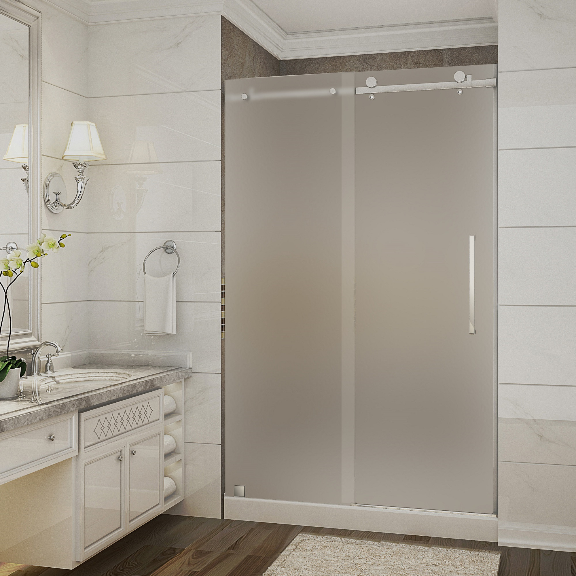 Aston Global SDR976F-TR-CH-48-10-R Chrome Sliding Shower Door With Shower Right Base