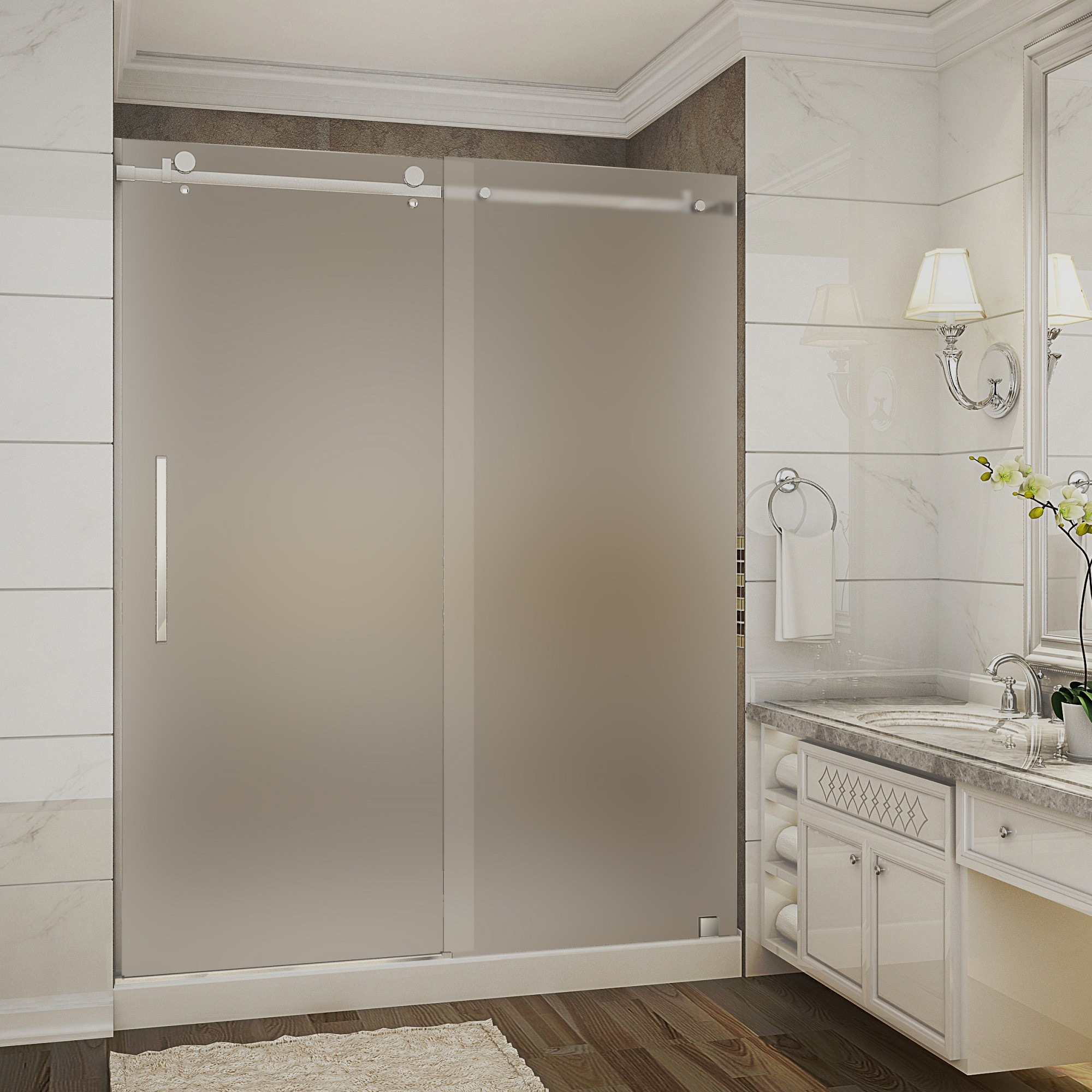 Aston Global SDR976F-TR-CH-60-10-M Frosted Sliding Shower Door With Shower Center Base In Chrome