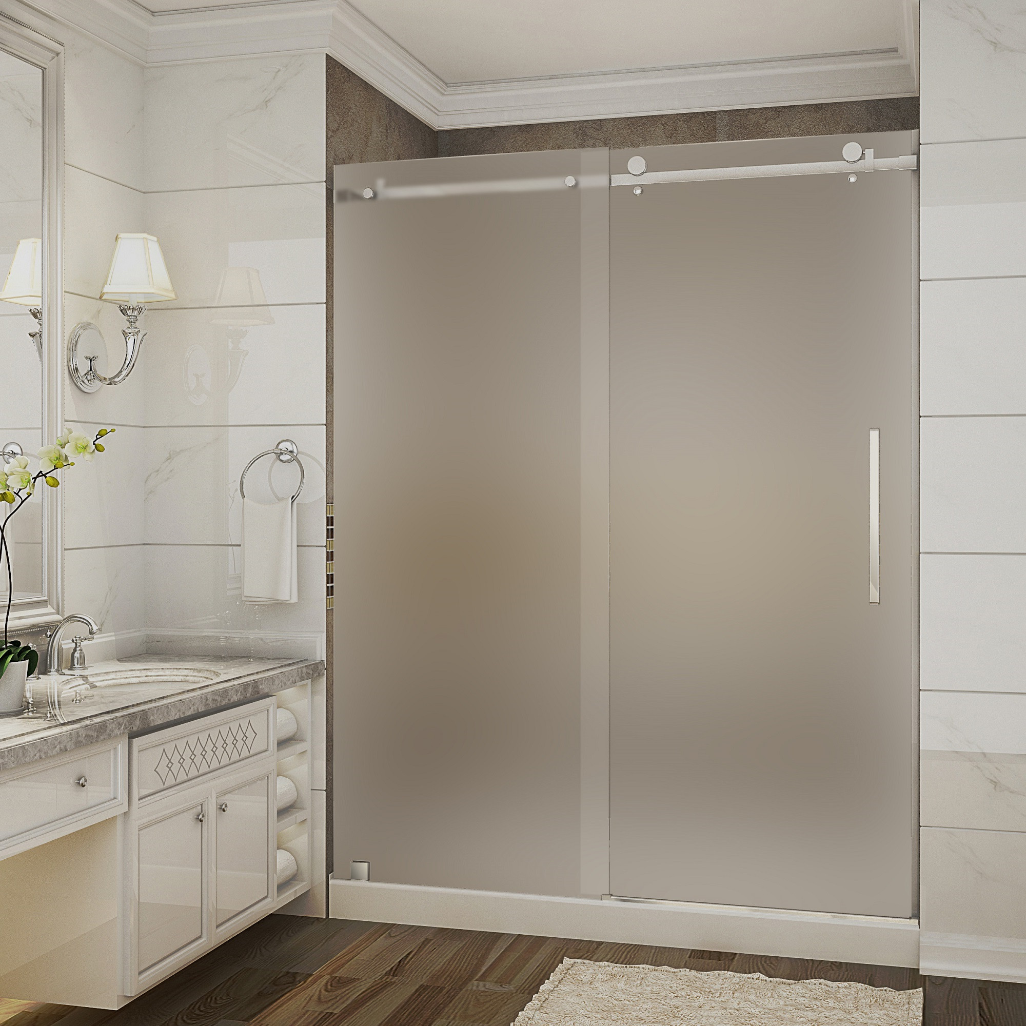 Aston Global SDR976F-TR-CH-60-10-R Frosted Glass Shower Door With Base & Right Drain In Chrome
