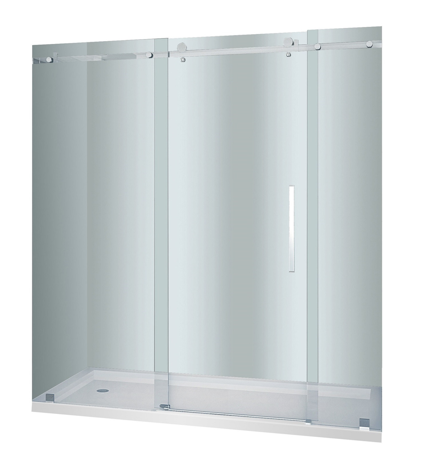 Aston Global SDR976F-TR-CH-72-10-R Chrome Frosted Sliding Shower Door With Shower Right Base