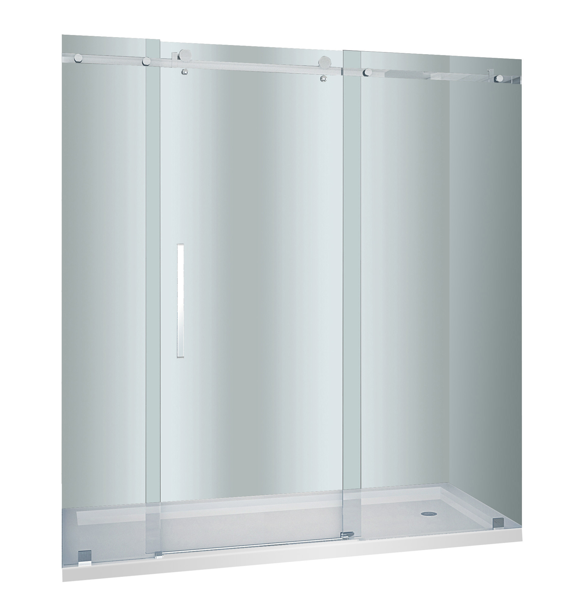Aston Global SDR976F-TR-SS-72-10-L Frosted Shower Door With Shower Left Base In Stainless Steel