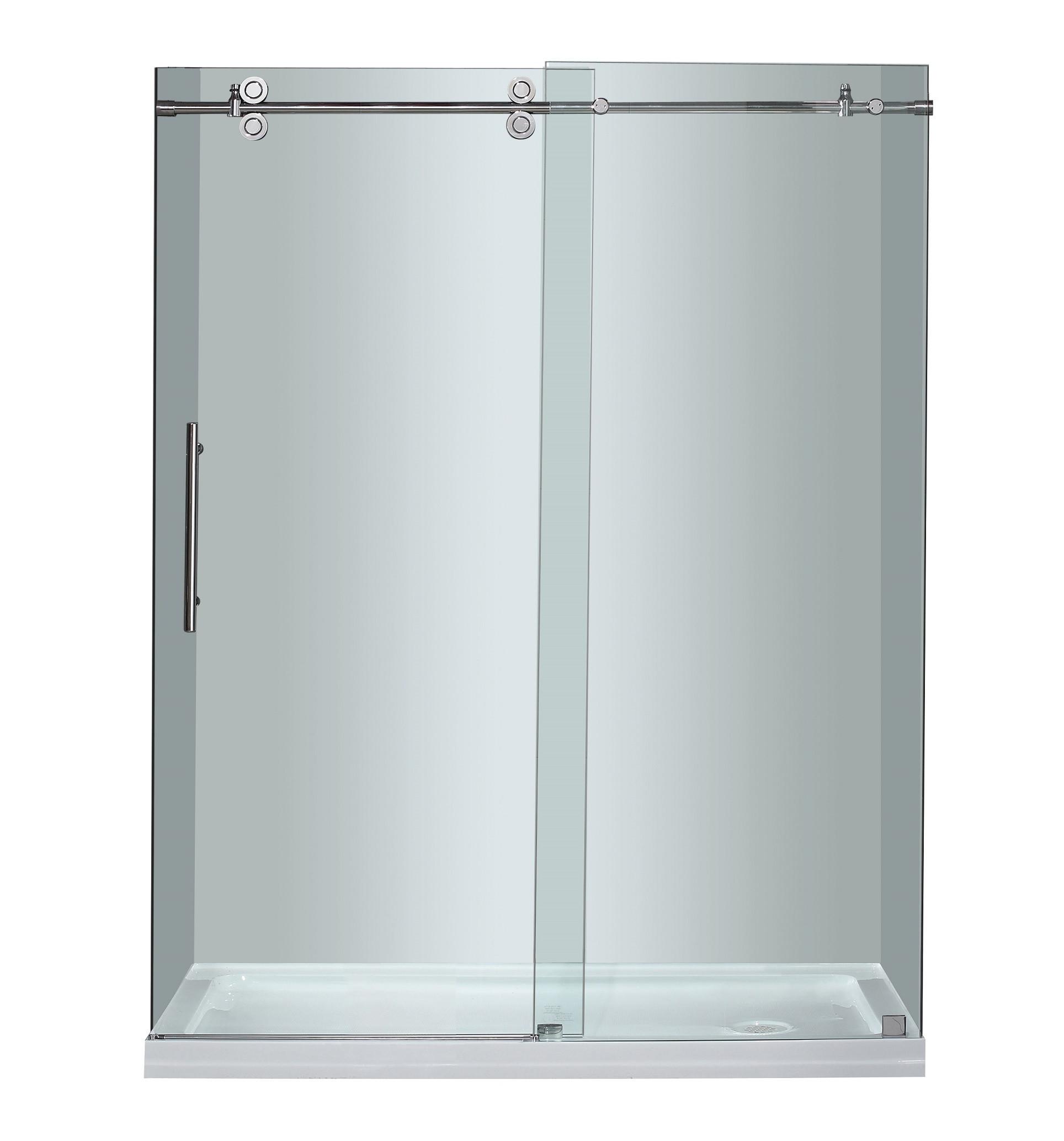 Aston Global SDR978-TR-CH-60-10-R - Completely Frameless Sliding Shower Door with Right Shower Base