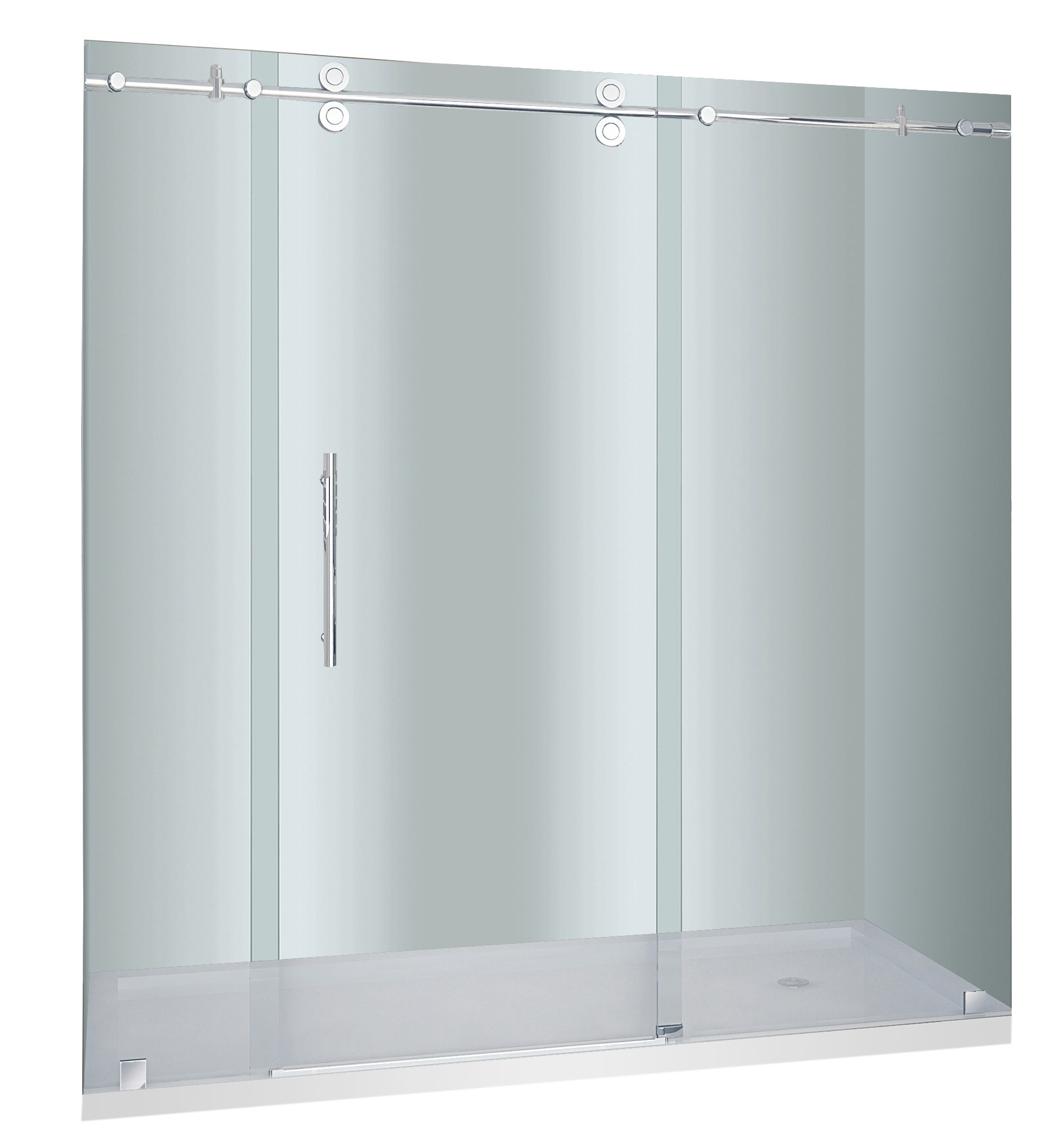 Aston Global SDR978-TR-SS-72-10-R Stainless Steel Right Drain Sliding Shower Door With Base