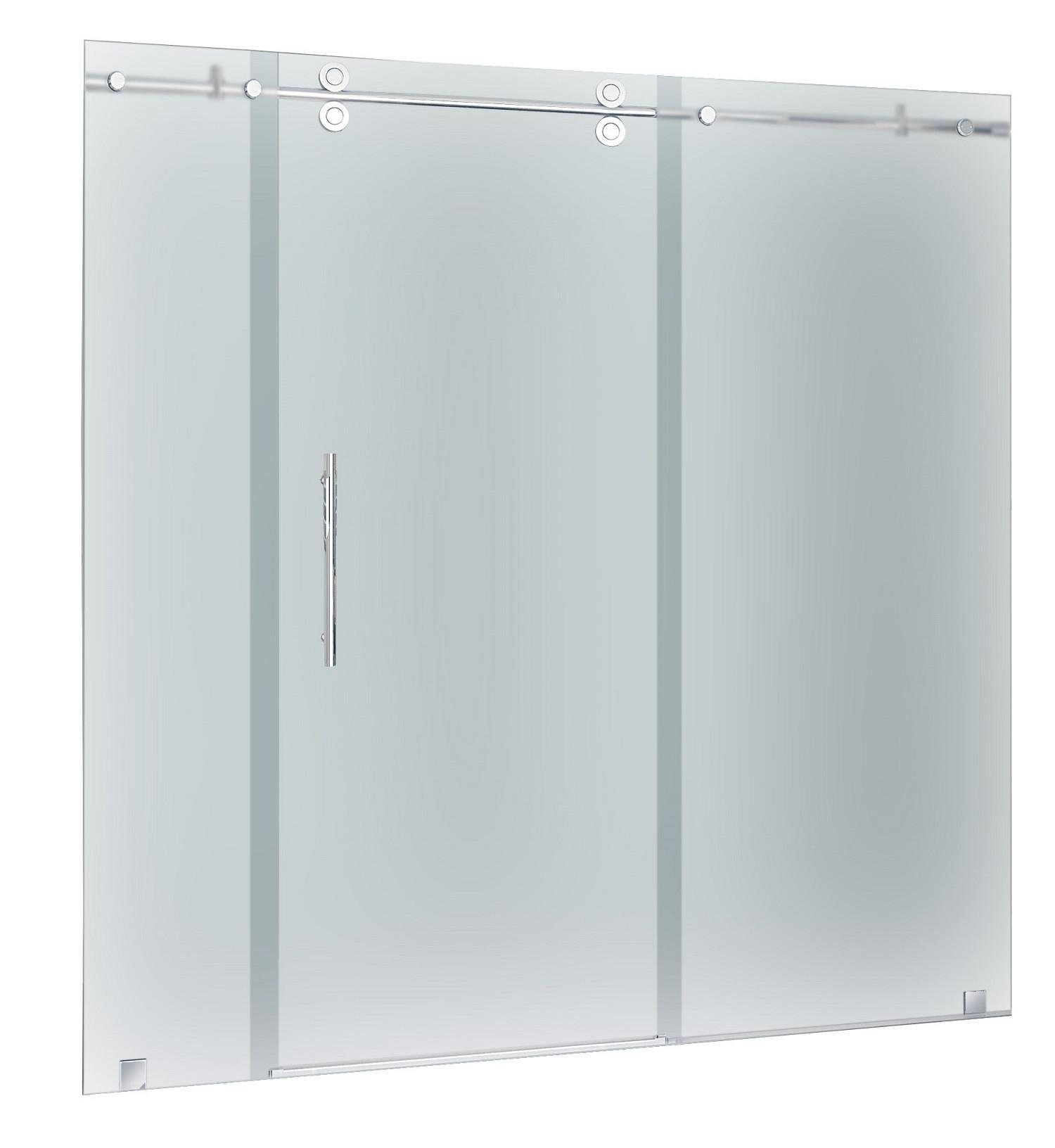 Aston Global SDR978F-SS-72-10 Frameless Frosted Glass Sliding Shower Door In Stainless Steel