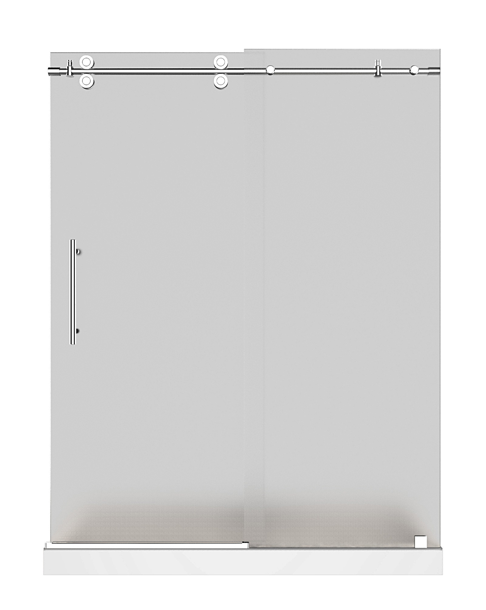 Aston Global SDR978F-TR-CH-60-10-L Frameless Frosted Shower Door With Base & Left Drain In Chrome