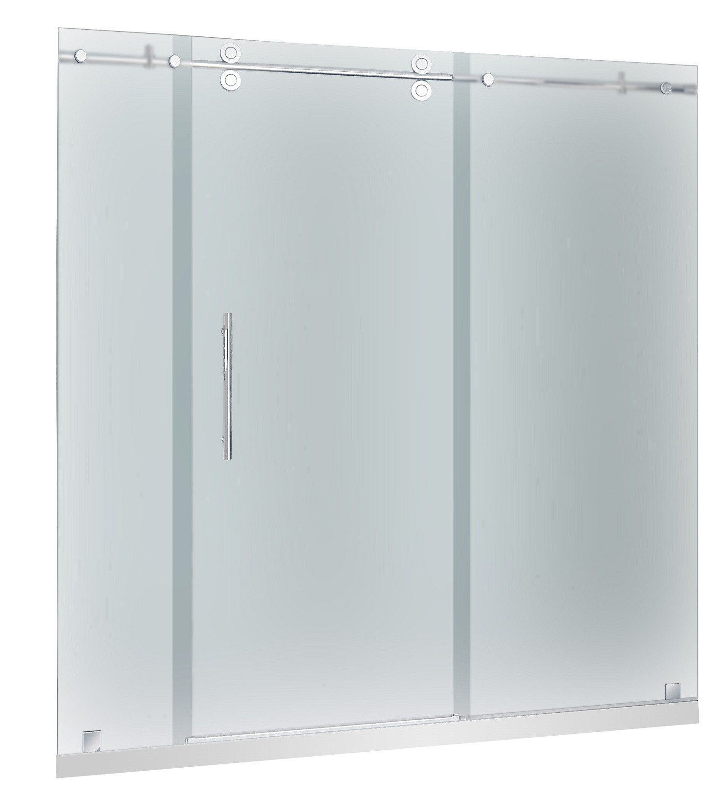 Aston Global SDR978F-TR-CH-72-10-L Frosted Glass Shower Door With Left Drain Base In Chrome