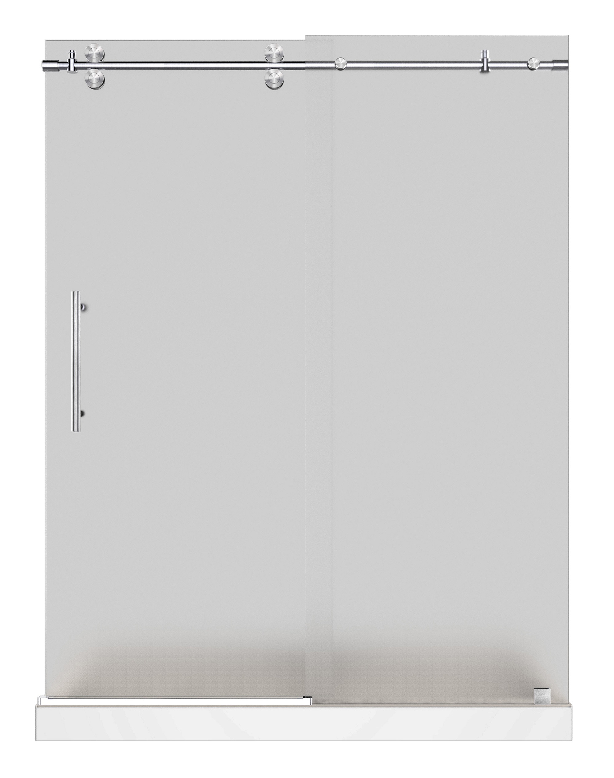 Aston Global SDR978F-TR-SS-60-10-M Stainless Steel Frosted Glass Shower Door With Shower Right Base