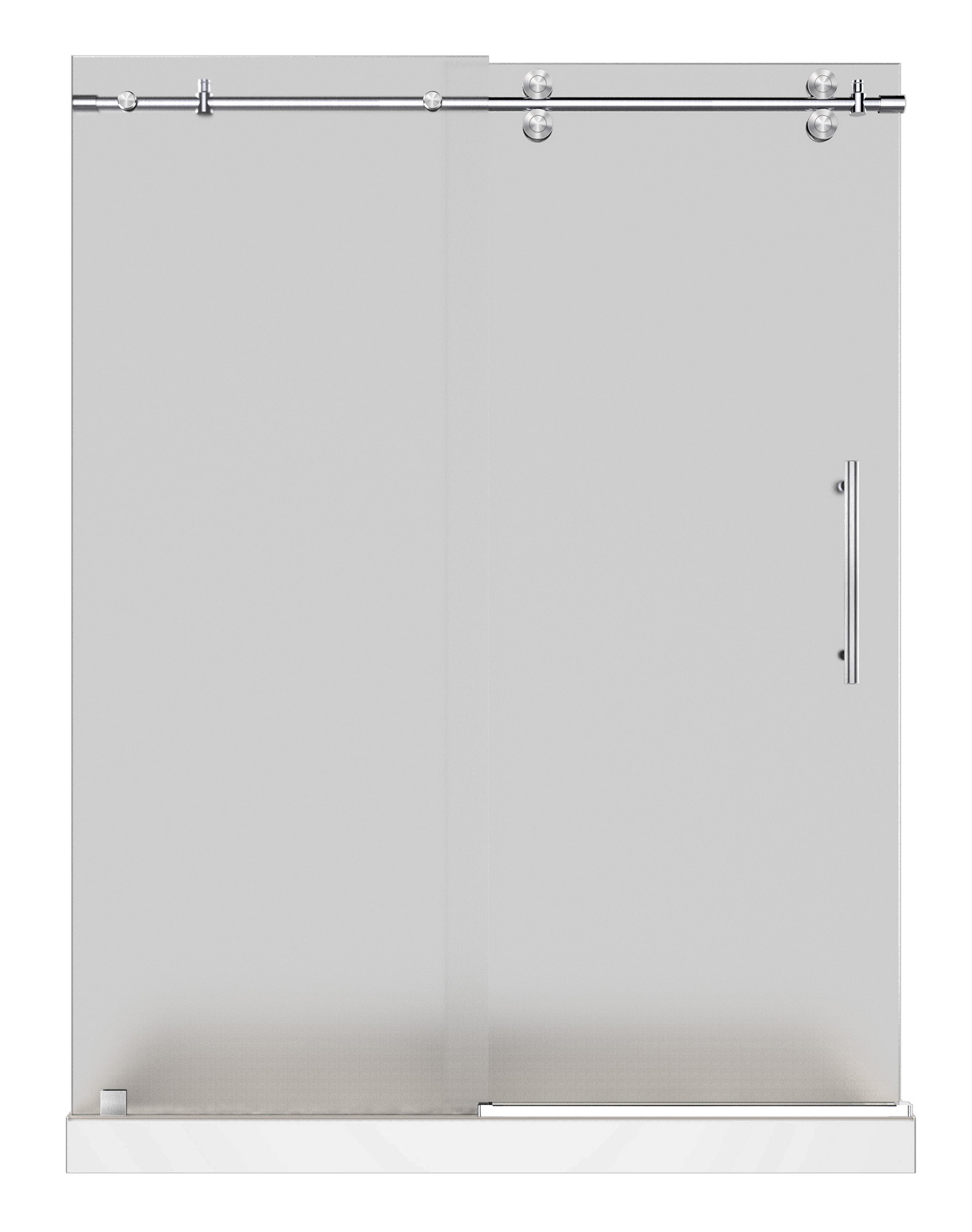 Aston Global SDR978F-TR-SS-60-10-R Stainless Steel Frameless Frosted Shower Door With Center Base