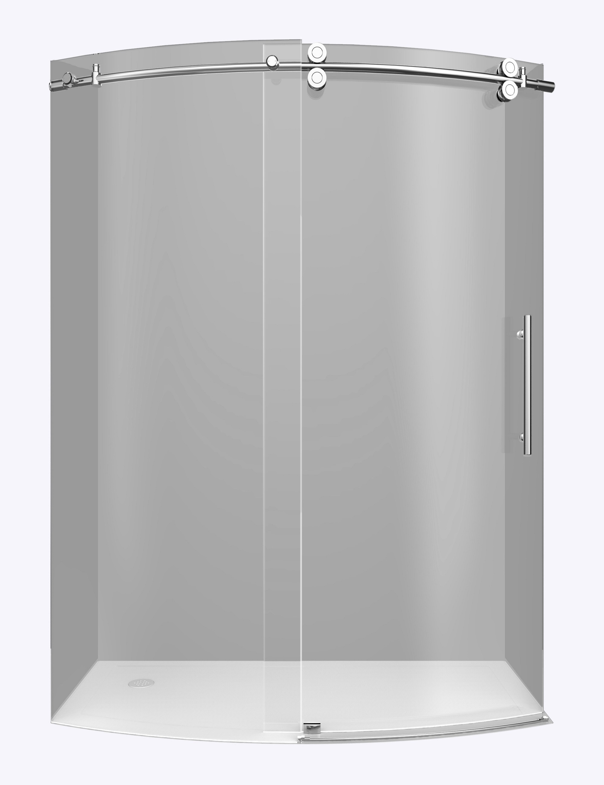 Aston Global SDR981-CH-60-8-R Chrome Frameless Bowfront Shower Door With Right Opening
