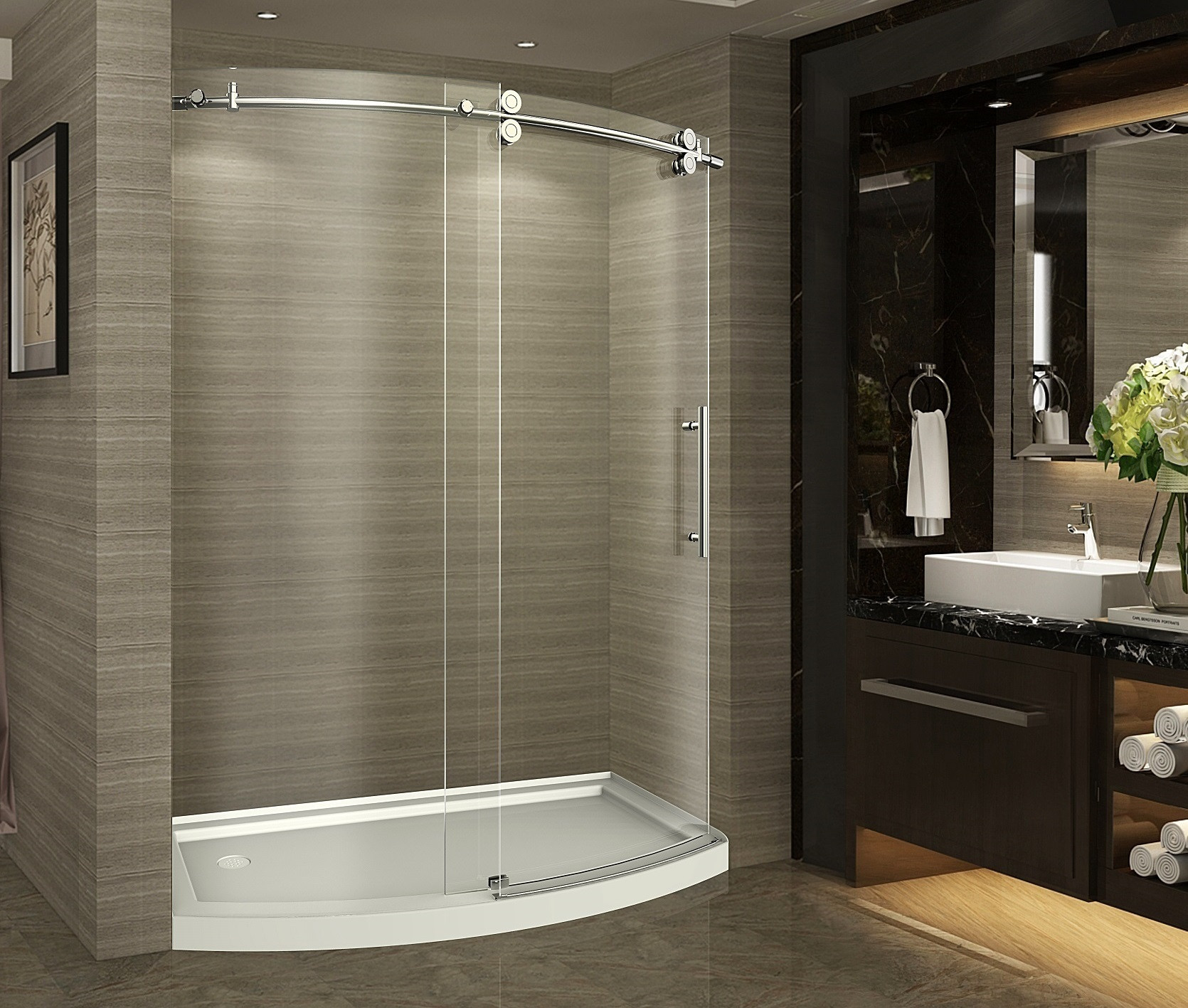 Aston Global SDR981-TRL-CH-60-8-R Chrome Bowfront Right Opening Shower Door