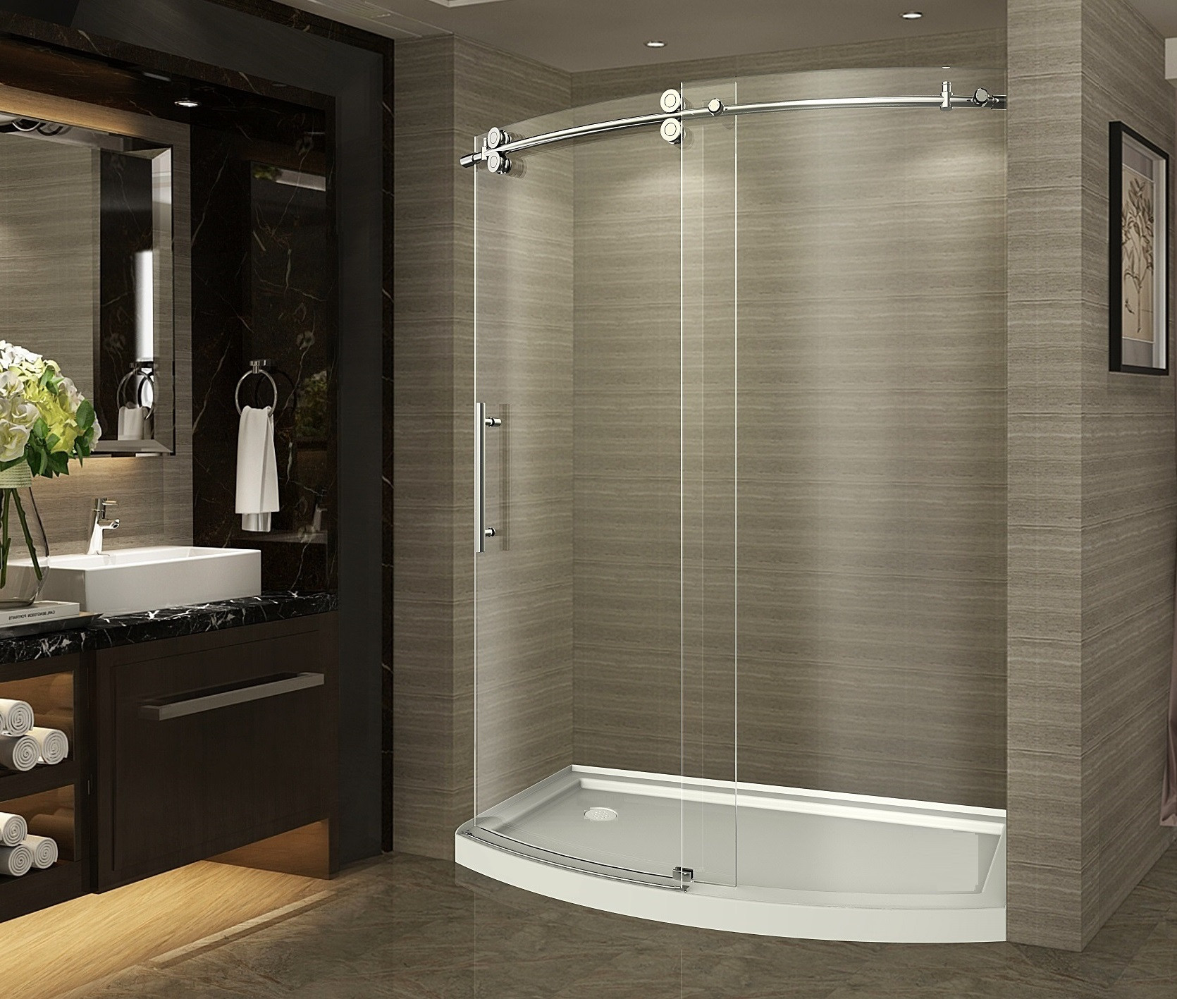 Aston Global SDR981-TRL-SS-60-8-L Stainless Steel Frameless Bowfront Shower Door With Right Opening