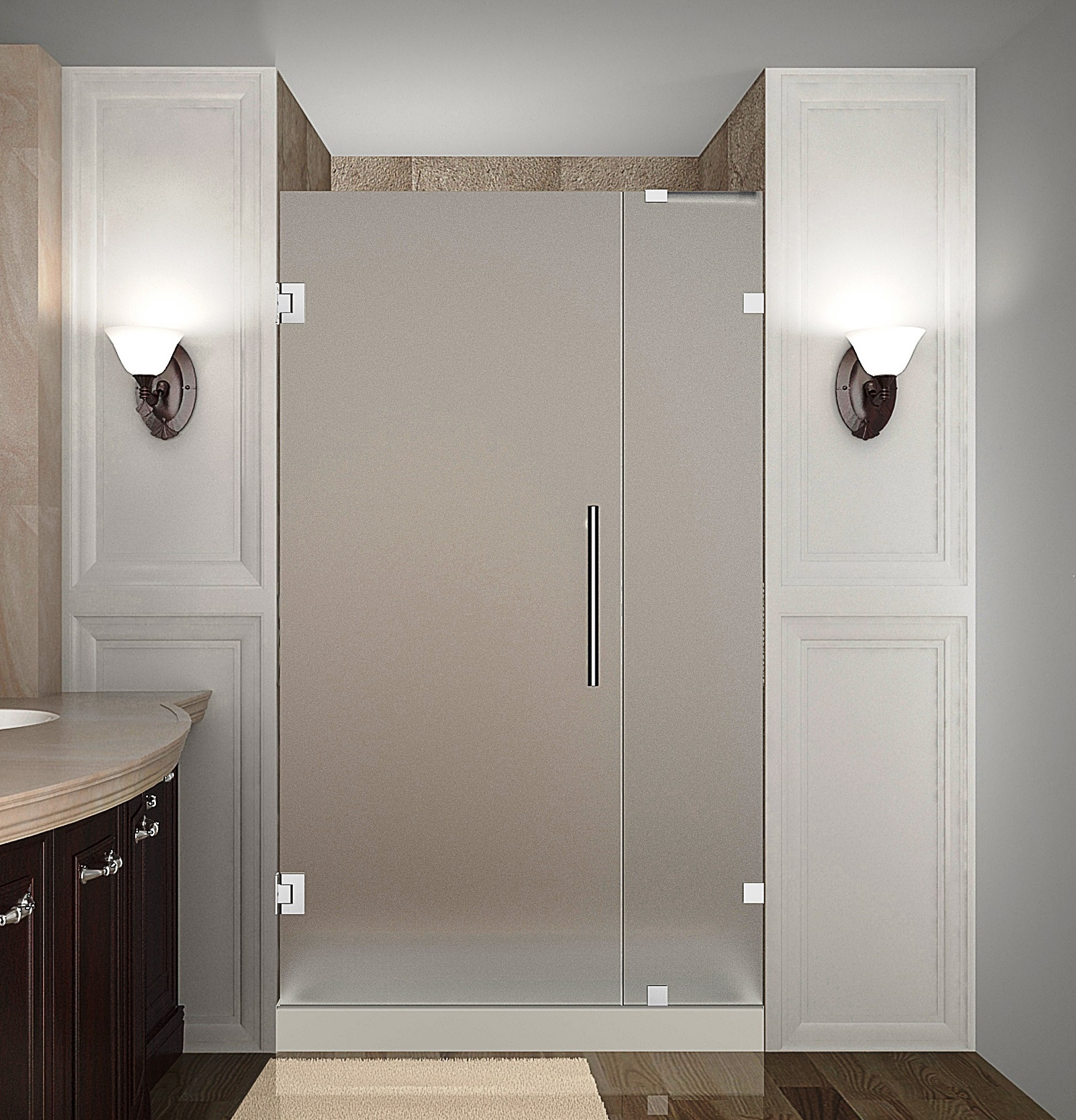 Aston Global SDR985F-CH-34-10 Completely Frameless Hinged Frosted Glass Shower Door In Chrome
