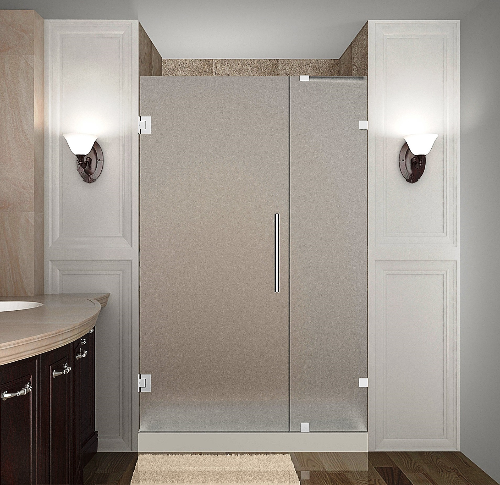Aston Global SDR985F-CH-41-10 Completely Frameless Hinged Frosted Glass Shower Door In Chrome
