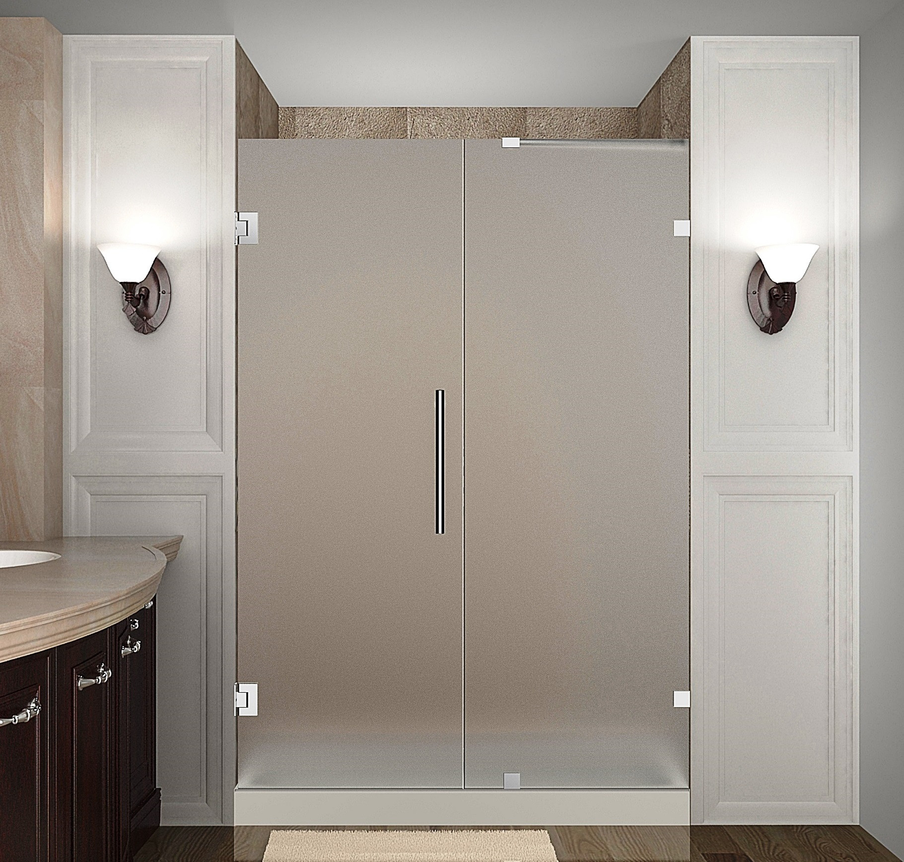 Aston Global SDR985F-CH-46-10 Completely Frameless Hinged Frosted Glass Shower Door In Chrome