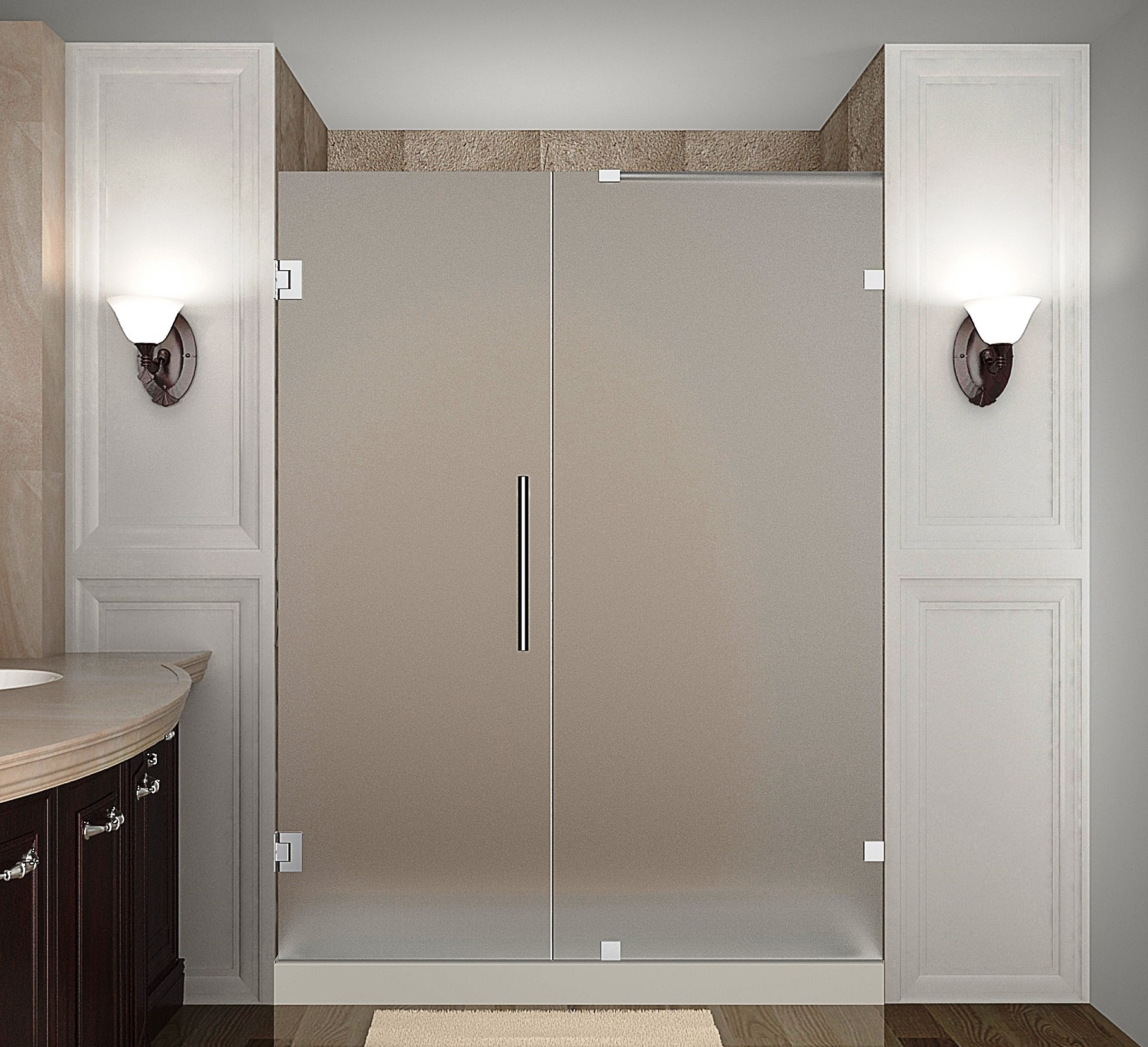 Aston Global SDR985F-CH-57-10 Completely Frameless Hinged Frosted Glass Shower Door In Chrome