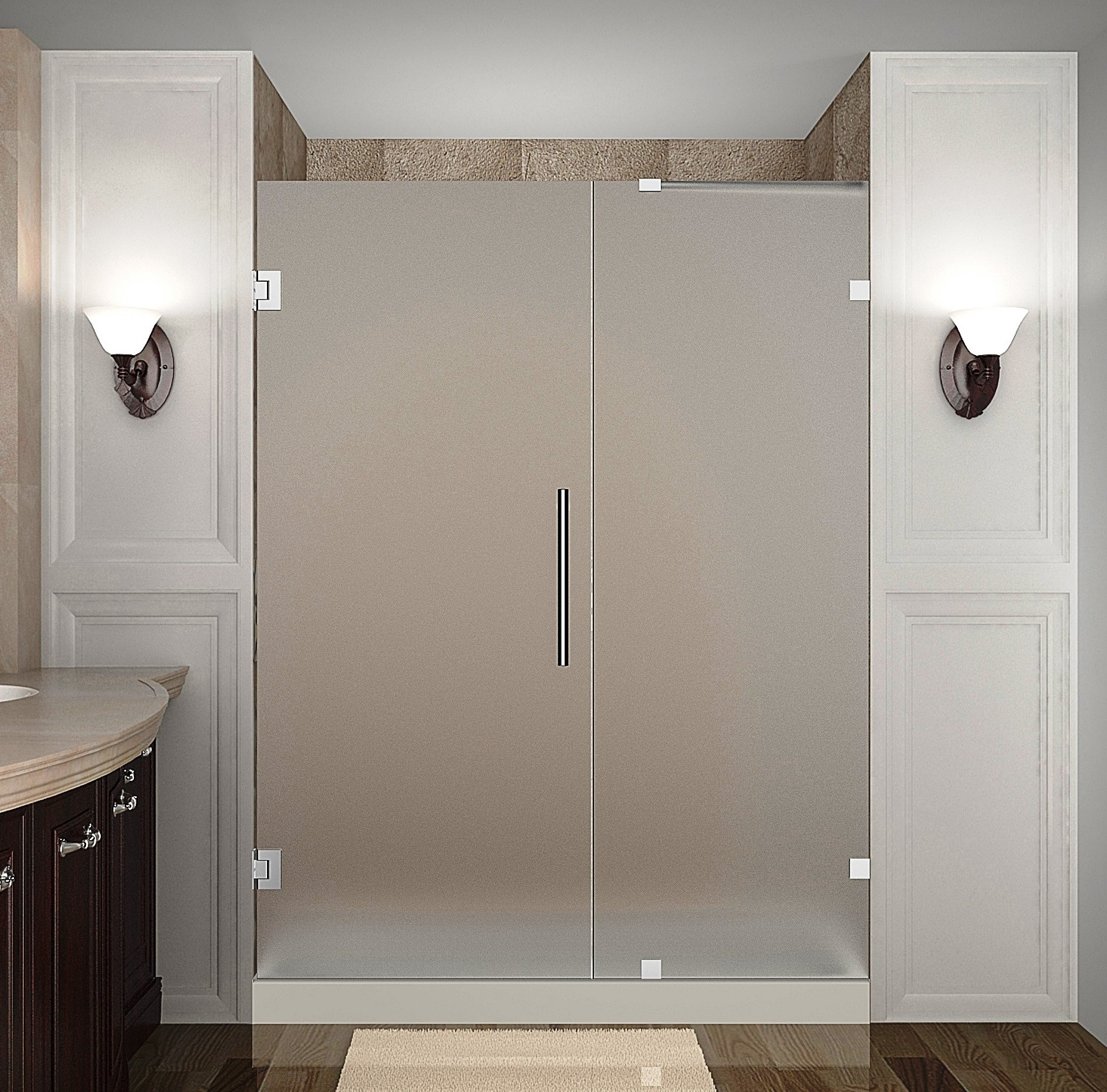 Aston Global SDR985F-CH-65-10 Completely Frameless Hinged Frosted Glass Shower Door In Chrome