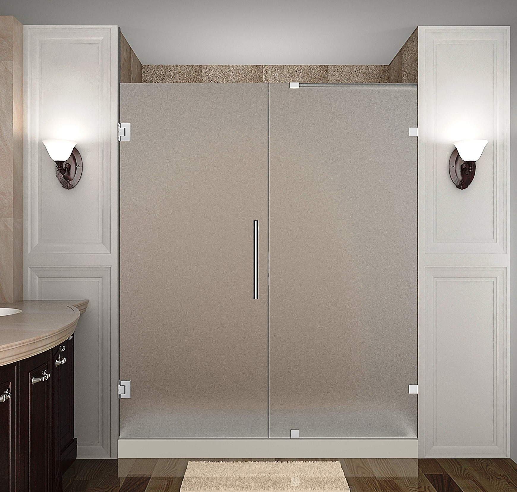 Aston Global SDR985F-CH-70-10 Completely Frameless Hinged Frosted Glass Shower Door In Chrome