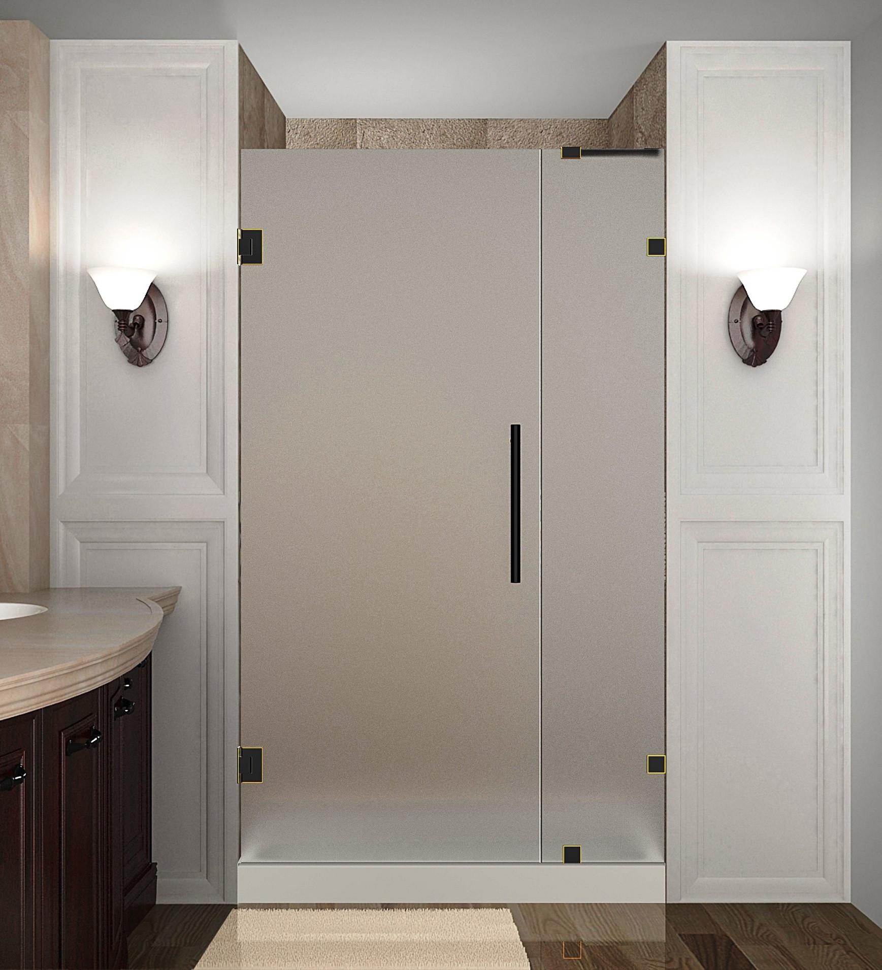 Aston Global SDR985F-ORB-33-10 Frameless Hinged Frosted Glass Shower Door In Oil Rubbed Bronze