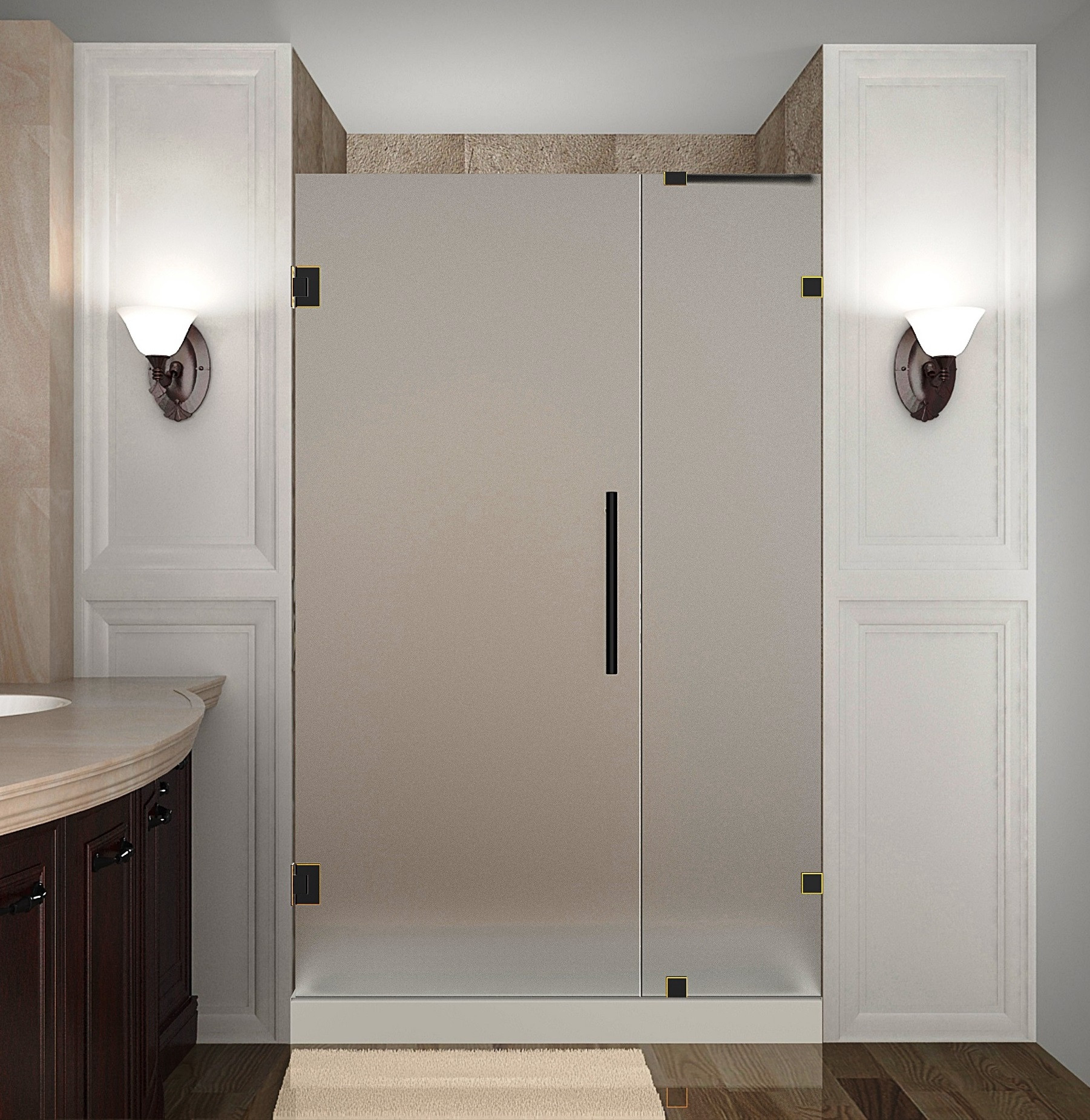 Aston Global SDR985F-ORB-38-10 Frameless Hinged Frosted Glass Shower Door In Oil Rubbed Bronze