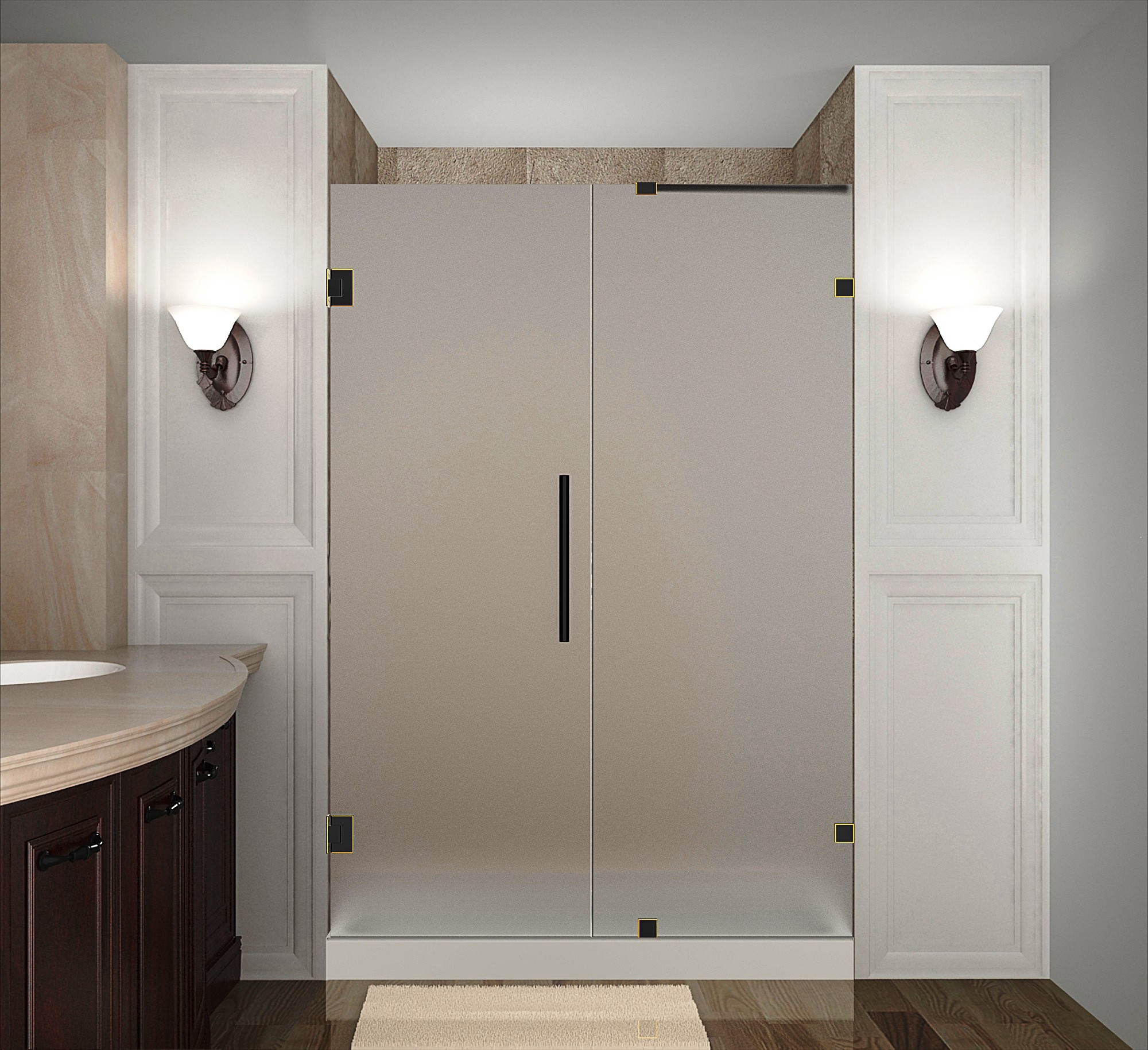 Aston Global SDR985F-ORB-50-10 Frameless Hinged Frosted Glass Shower Door In Oil Rubbed Bronze