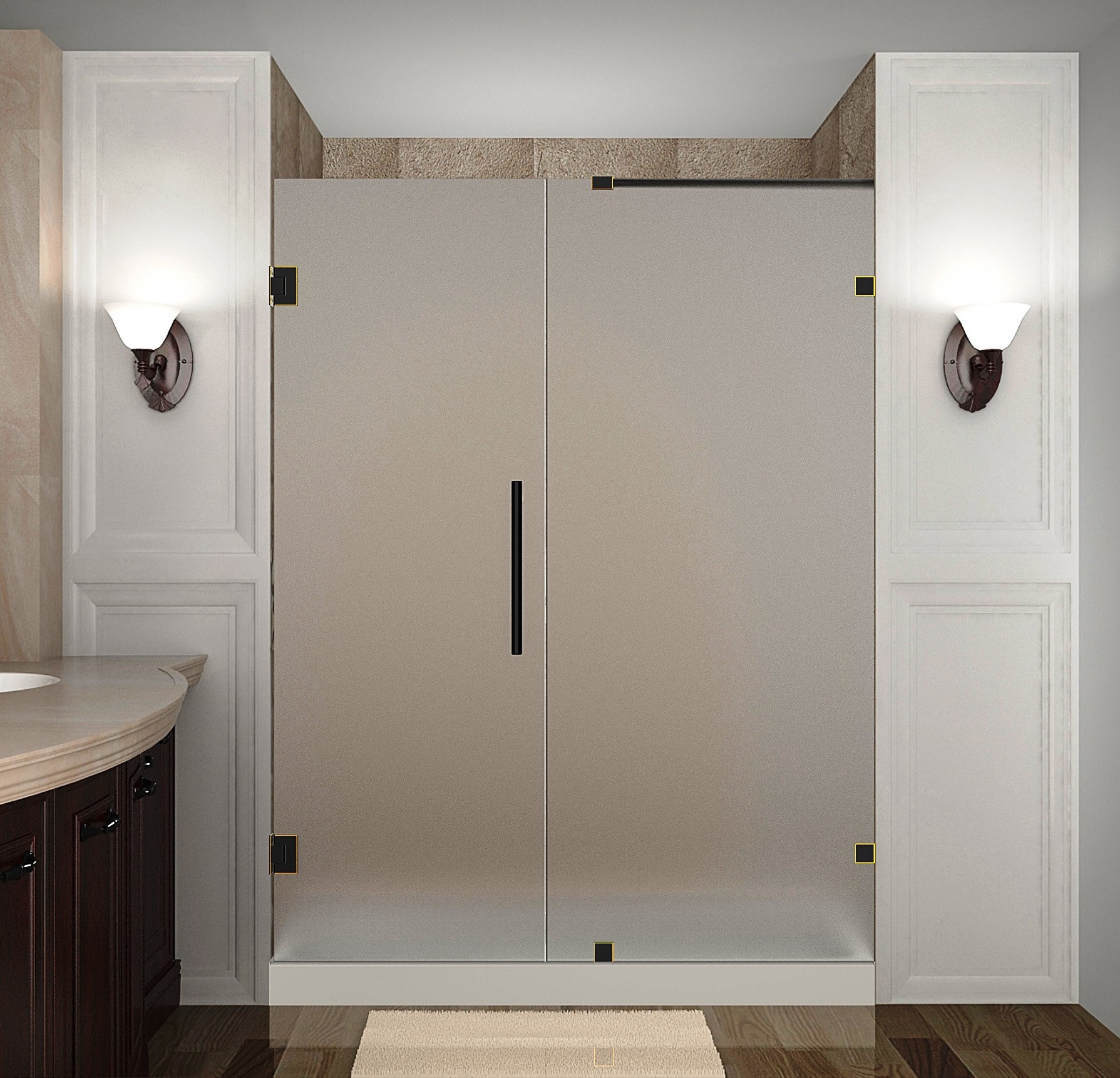Aston Global SDR985F-ORB-56-10 Frameless Hinged Frosted Glass Shower Door In Oil Rubbed Bronze