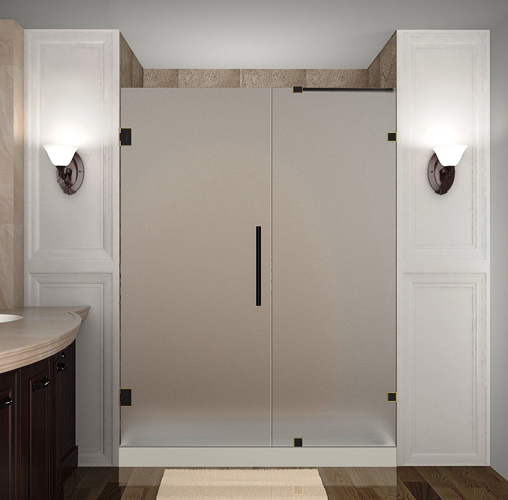 Aston Global SDR985F-ORB-67-10 Frameless Hinged Frosted Glass Shower Door In Oil Rubbed Bronze