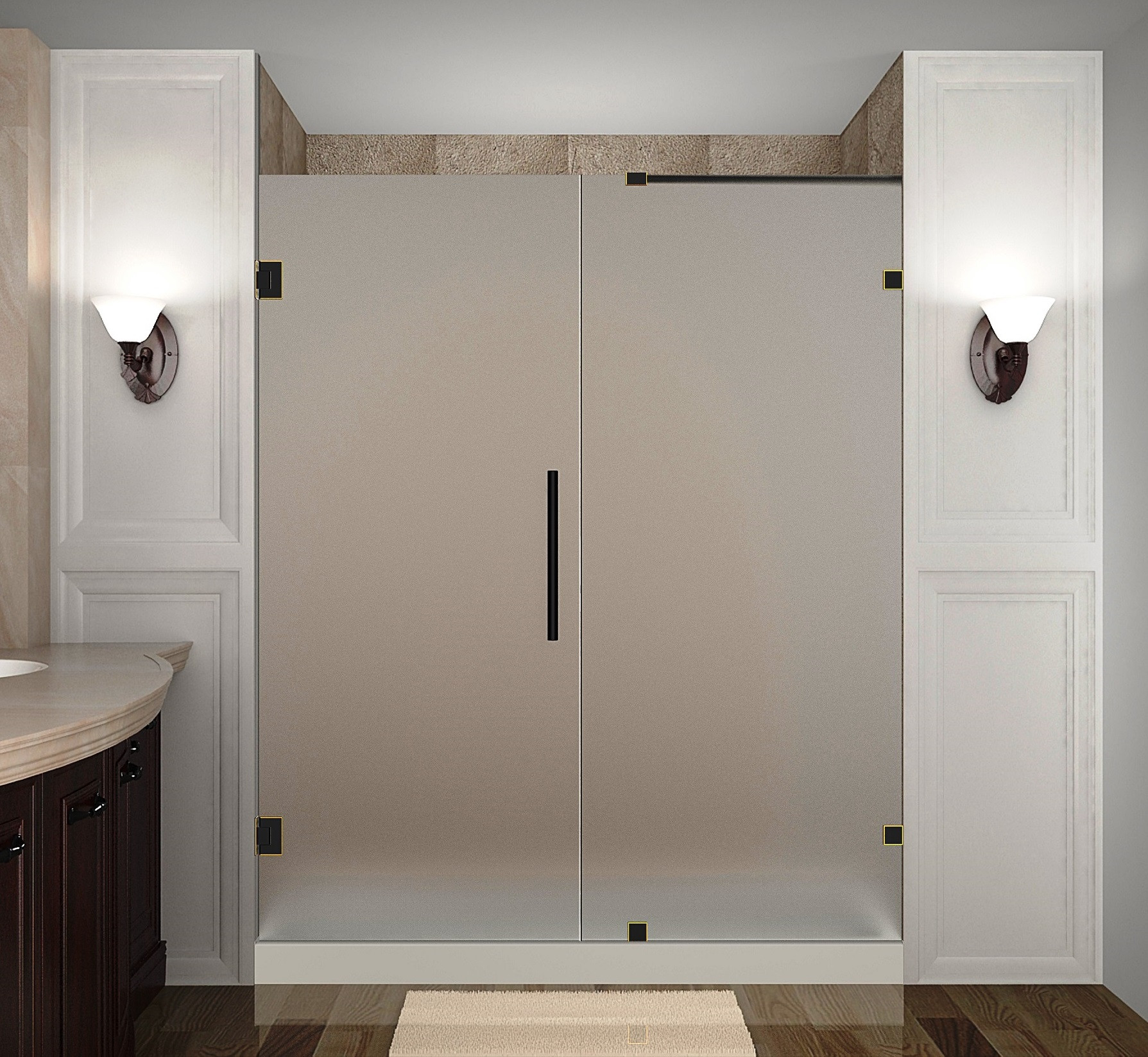 Aston Global SDR985F-ORB-72-10 Frameless Hinged Frosted Glass Shower Door In Oil Rubbed Bronze